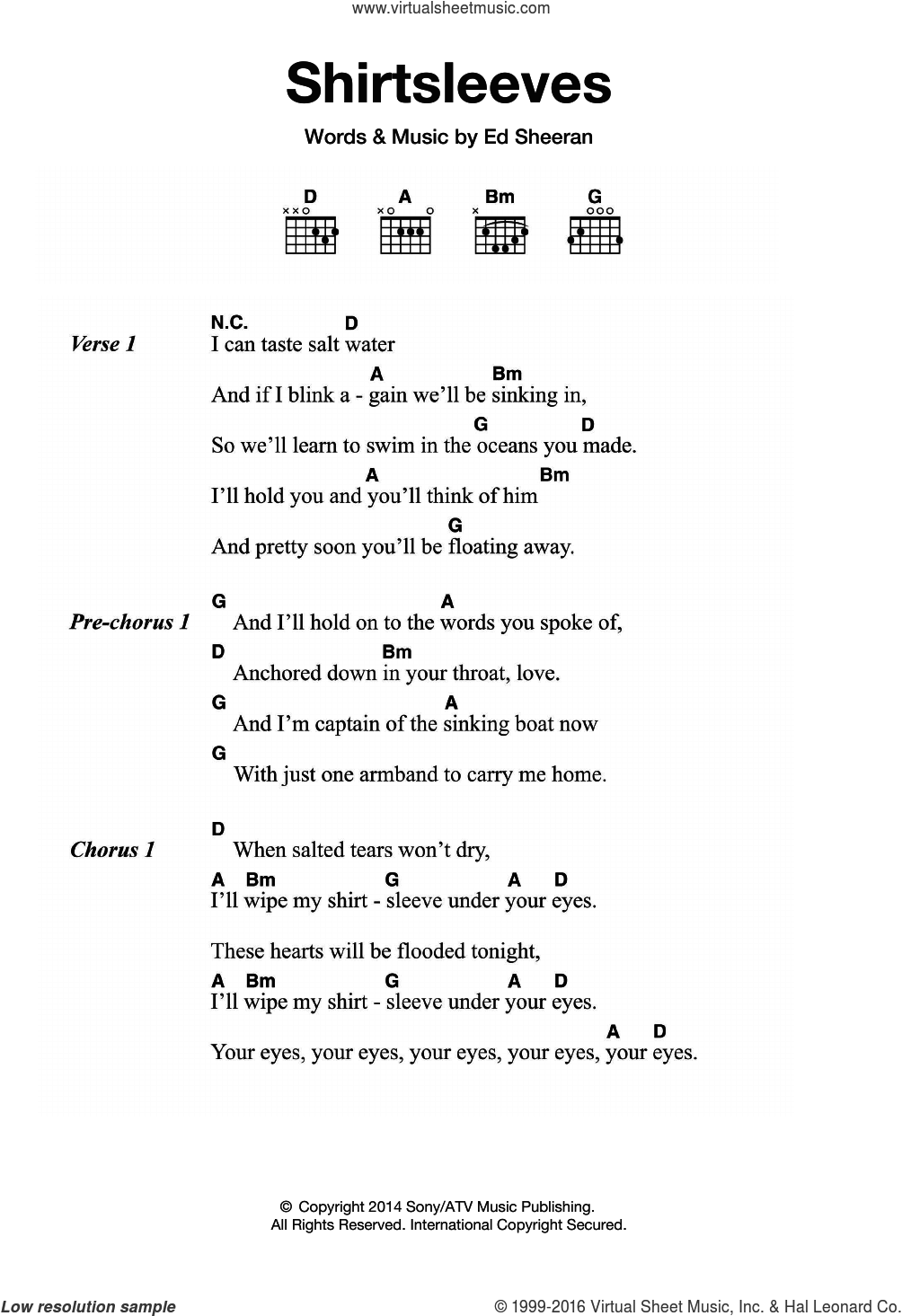 Shirtsleeves sheet music for guitar (chords) by Ed Sheeran, intermediate guitar (chords). Score Image Preview.