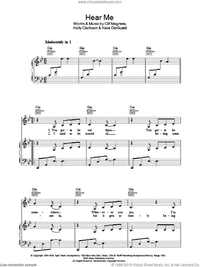 Hear Me sheet music for voice, piano or guitar by Kelly Clarkson, Clif Magness and Kara DioGuardi, intermediate. Score Image Preview.