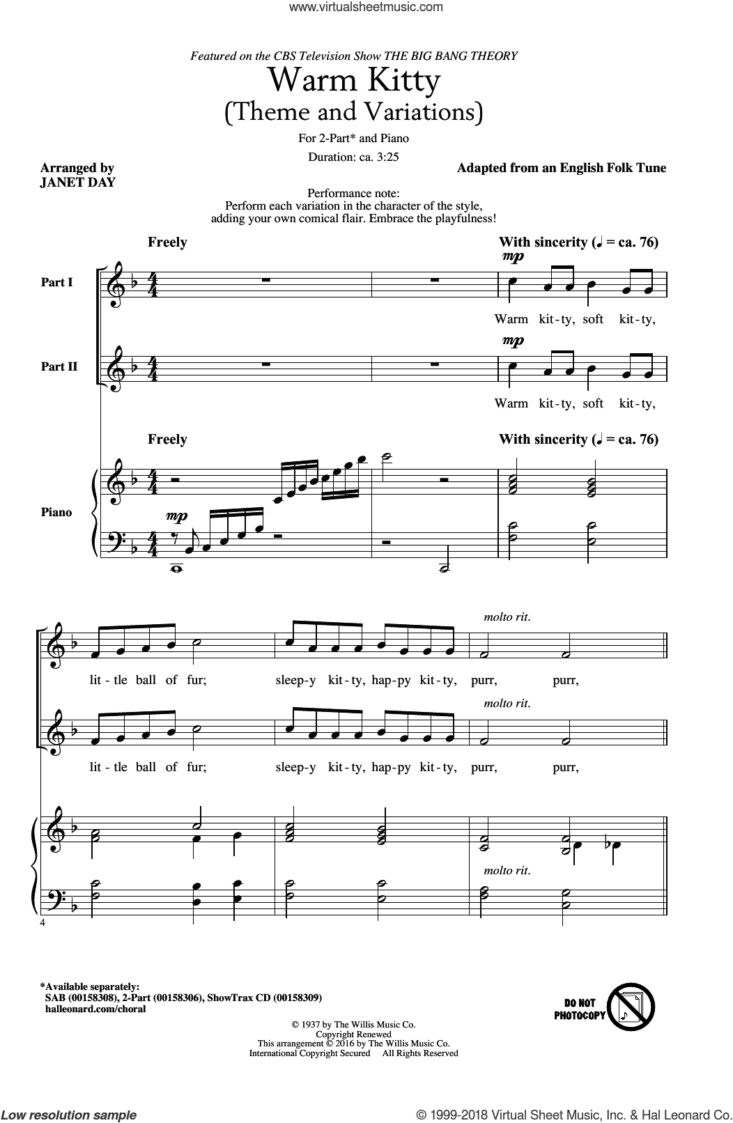 Warm Kitty sheet music for choir (2-Part) by English Folk Tune (adapted) and Janet Day, intermediate duet. Score Image Preview.