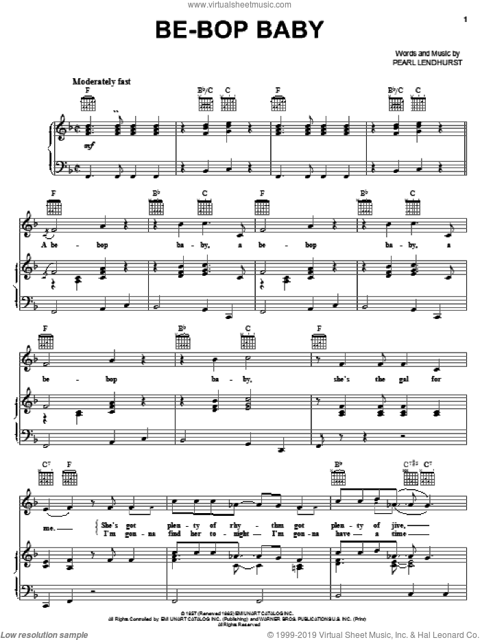 Be-Bop Baby sheet music for voice, piano or guitar by Pearl Lendhurst