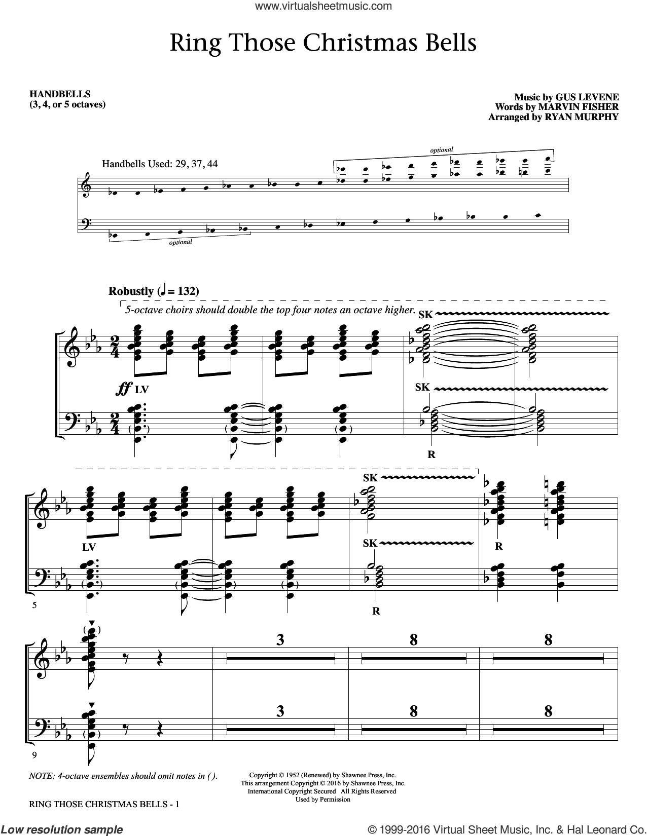 Ring Those Christmas Bells sheet music for orchestra/band (handbells) by Marvin Fisher and Peggy Lee. Score Image Preview.