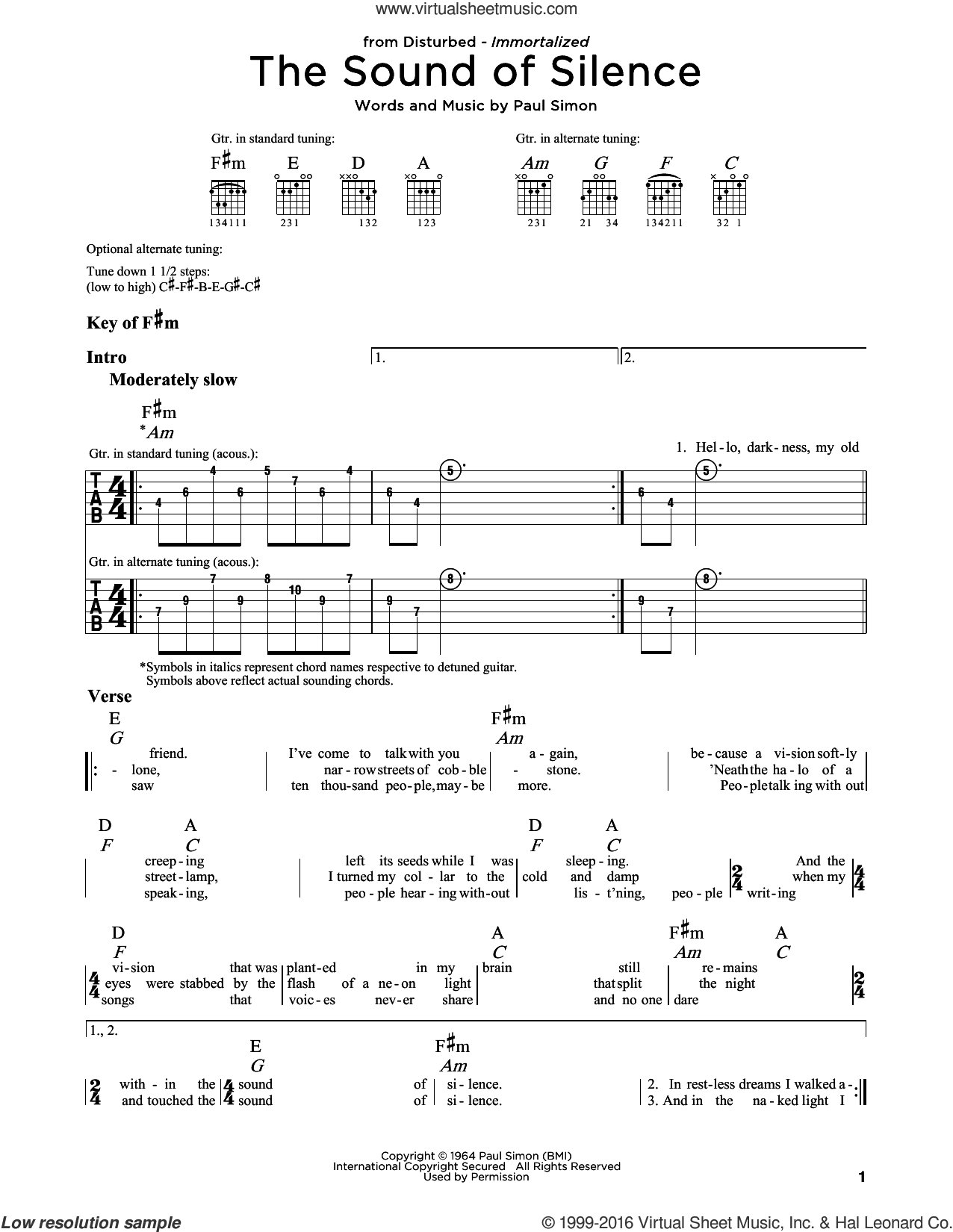 The Sound Of Silence sheet music for guitar solo (lead sheet) by Paul Simon, Disturbed and Simon & Garfunkel. Score Image Preview.