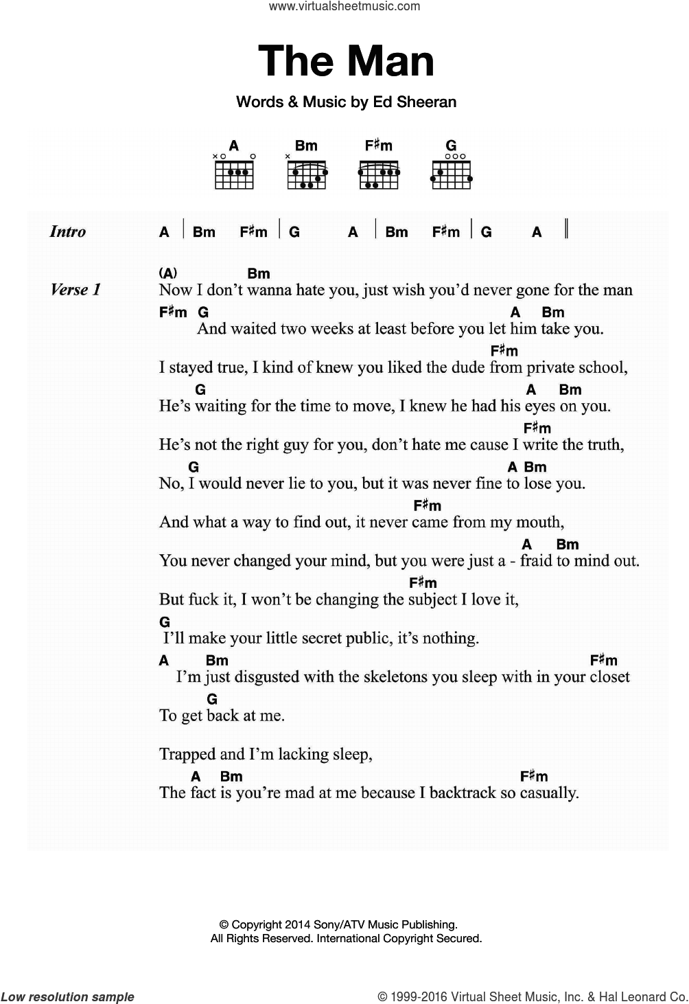 The Man sheet music for guitar (chords) by Ed Sheeran, intermediate skill level