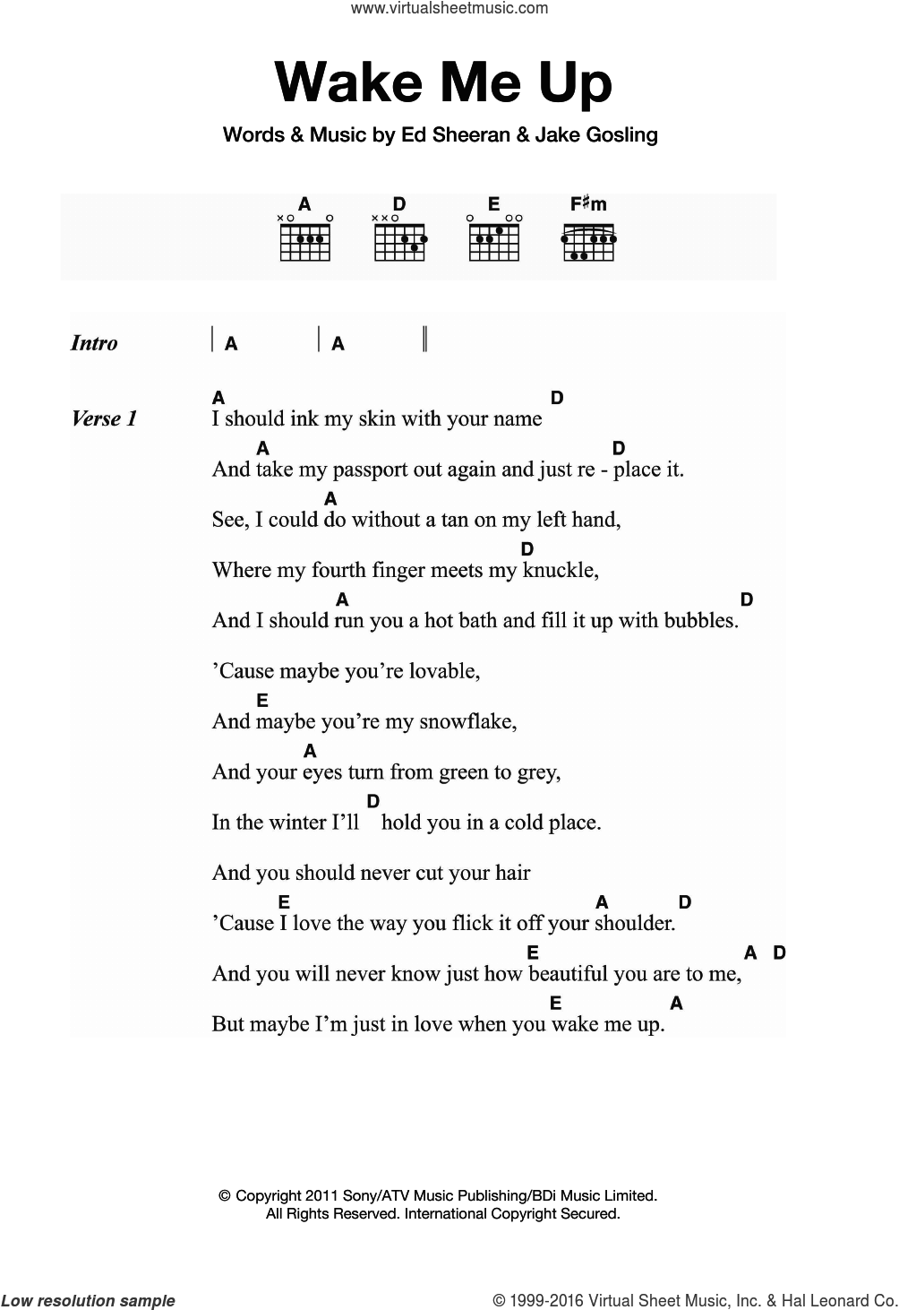 Wake Me Up sheet music for guitar (chords) by Ed Sheeran and Jake Gosling, intermediate. Score Image Preview.