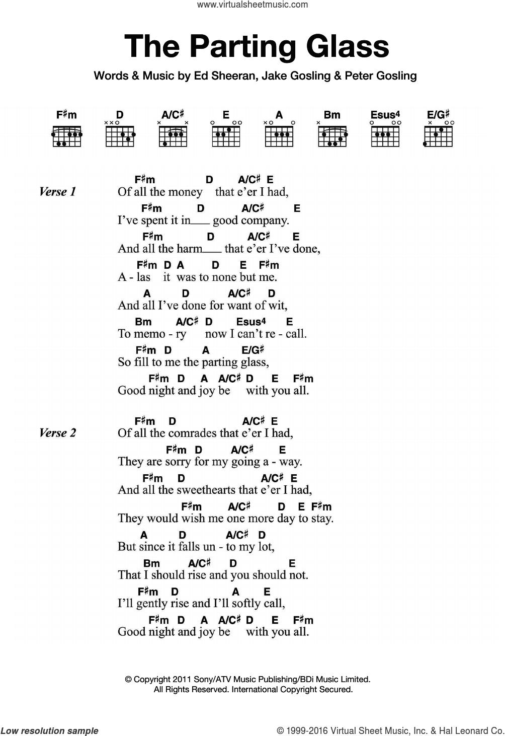 Sheeran   The Parting Glass sheet music for guitar chords v15