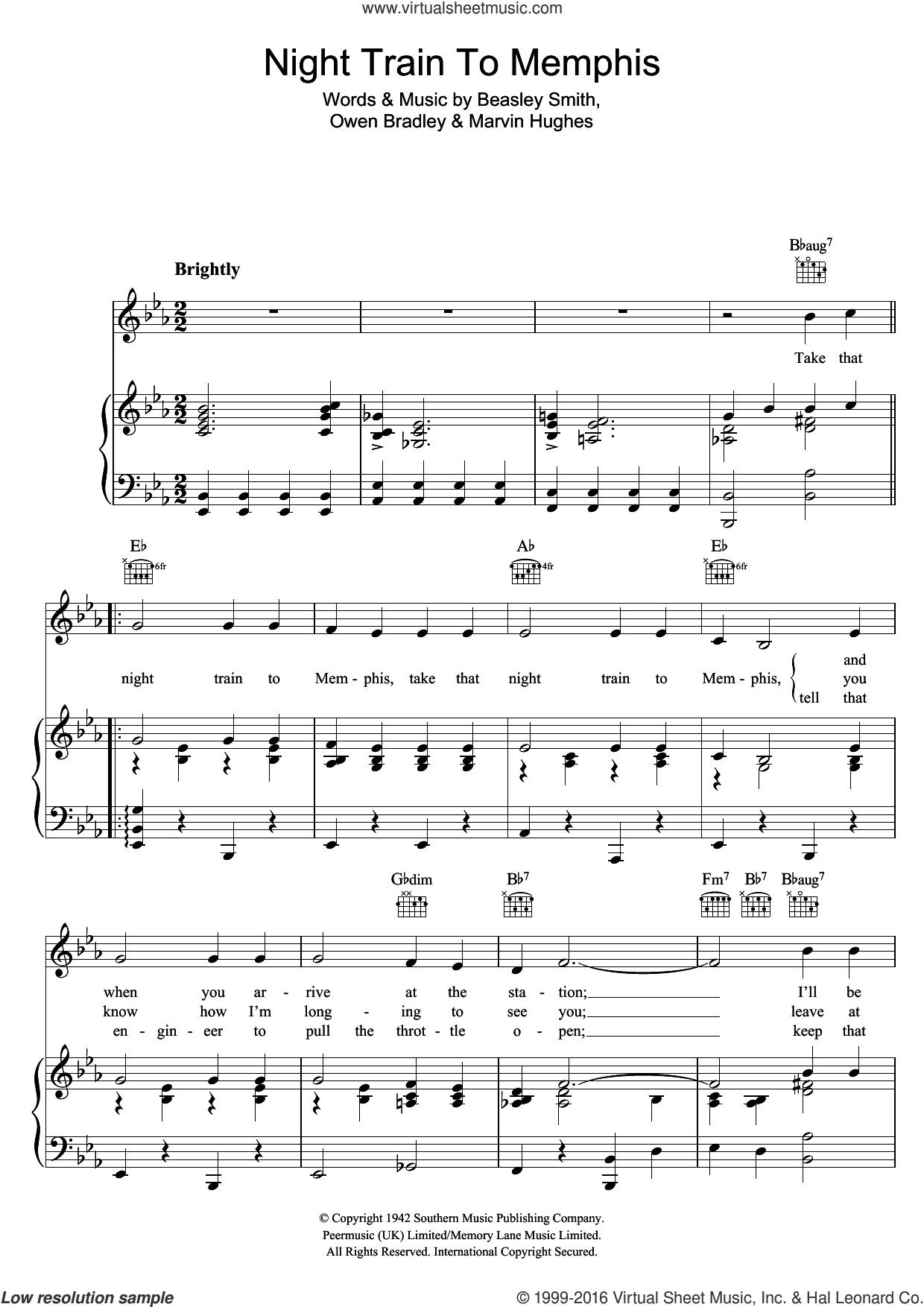 Night Train To Memphis sheet music for voice, piano or guitar by Carl Perkins, Beasley Smith, Marvin Hughes and Owen Bradley, intermediate skill level