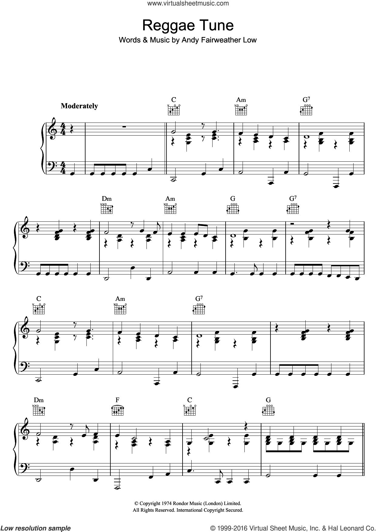 Reggae Tune sheet music for voice, piano or guitar by Andy Fairweather Low. Score Image Preview.