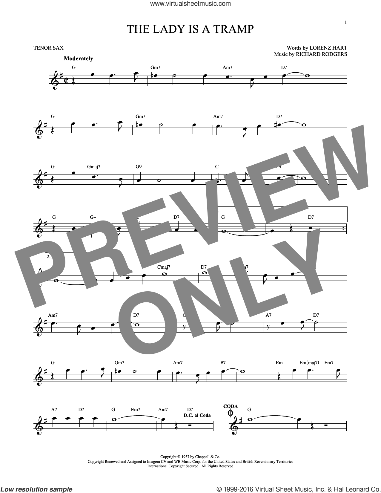 The Lady Is A Tramp sheet music for tenor saxophone solo by Rodgers & Hart, Lorenz Hart and Richard Rodgers, intermediate tenor saxophone. Score Image Preview.