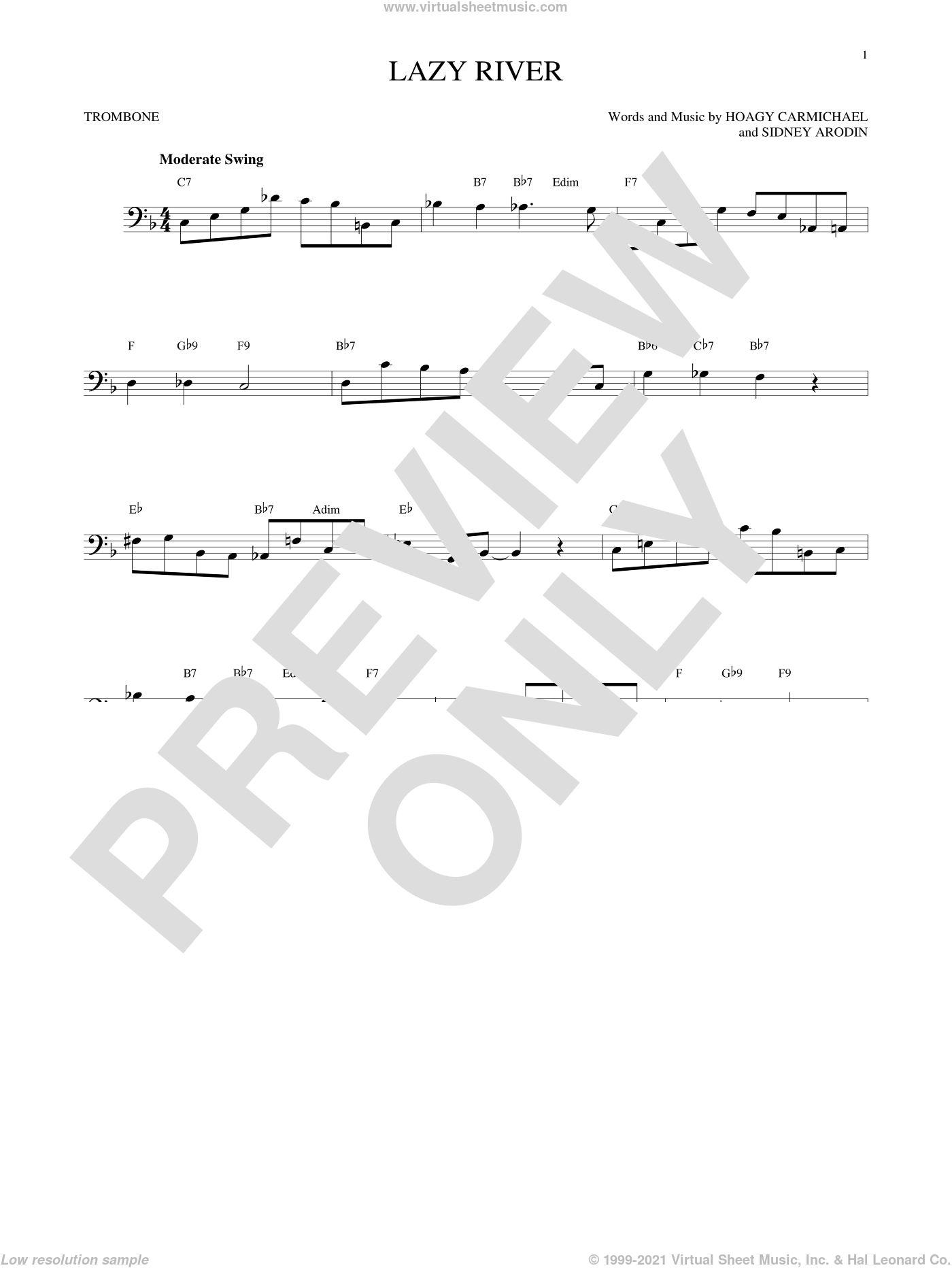 Lazy River sheet music for trombone solo by Hoagy Carmichael, Bobby Darin and Sidney Arodin, intermediate skill level