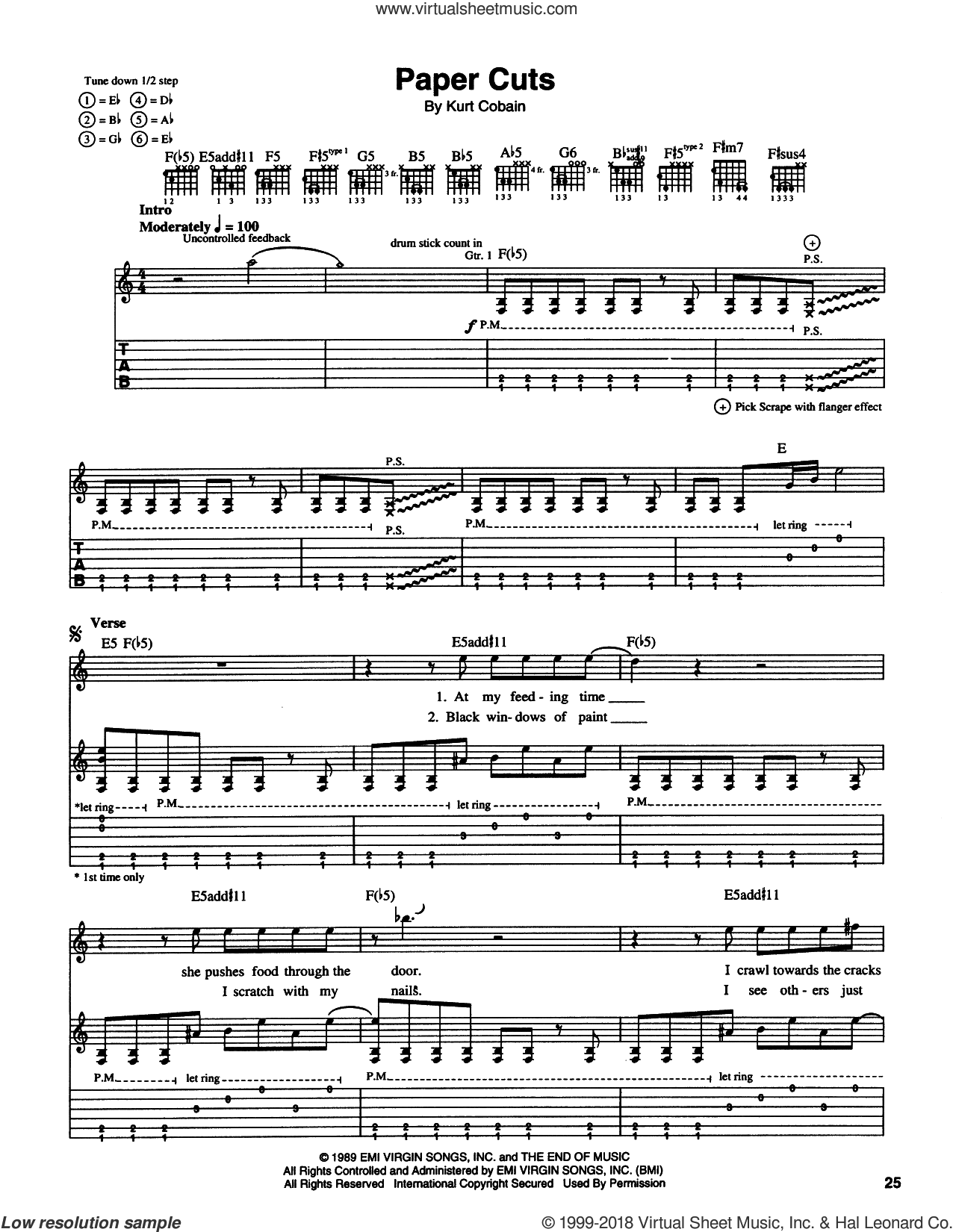 Paper Cuts sheet music for guitar (tablature) by Kurt Cobain and Nirvana. Score Image Preview.