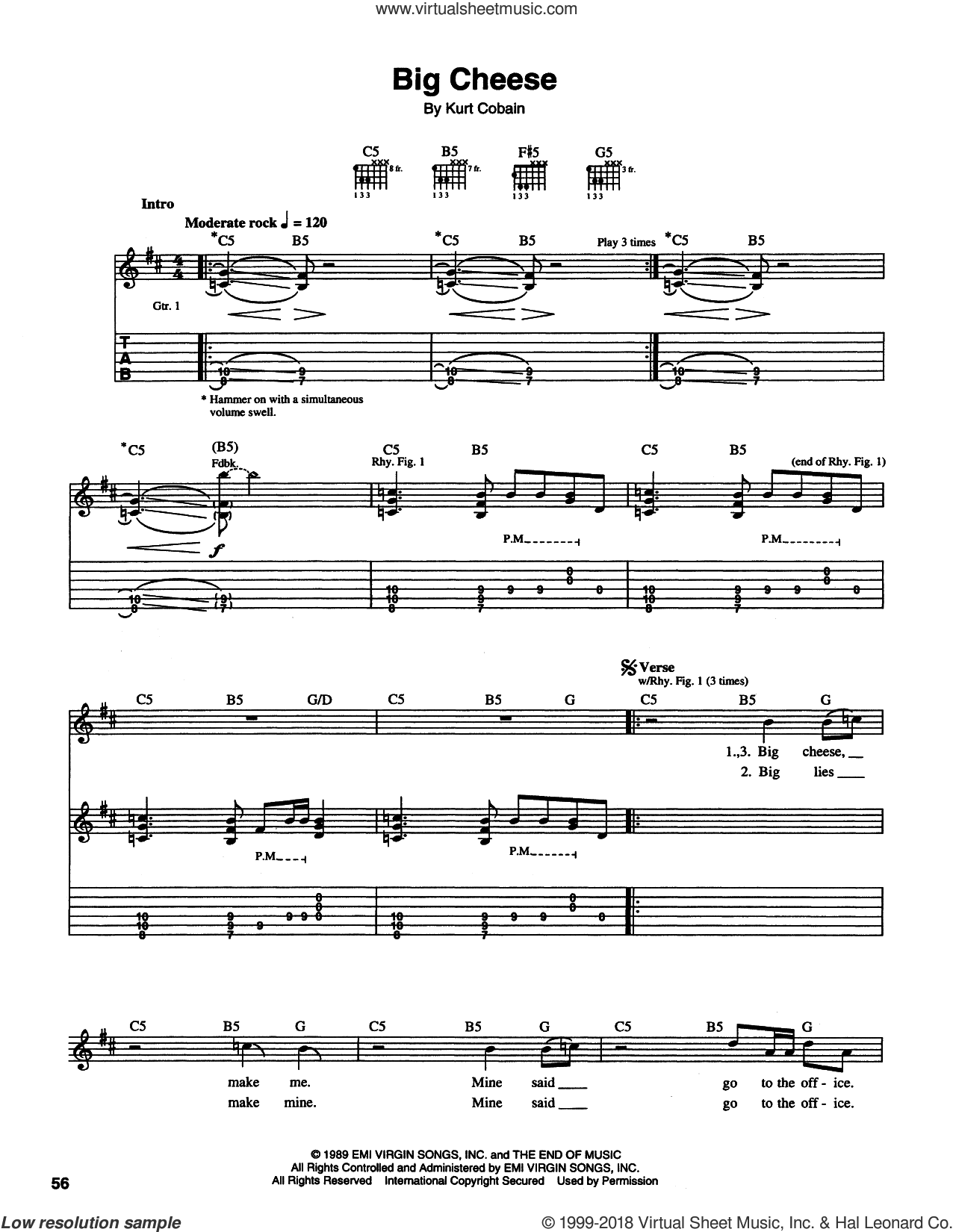 Big Cheese sheet music for guitar (tablature) by Nirvana, Krist Novoselic and Kurt Cobain, intermediate