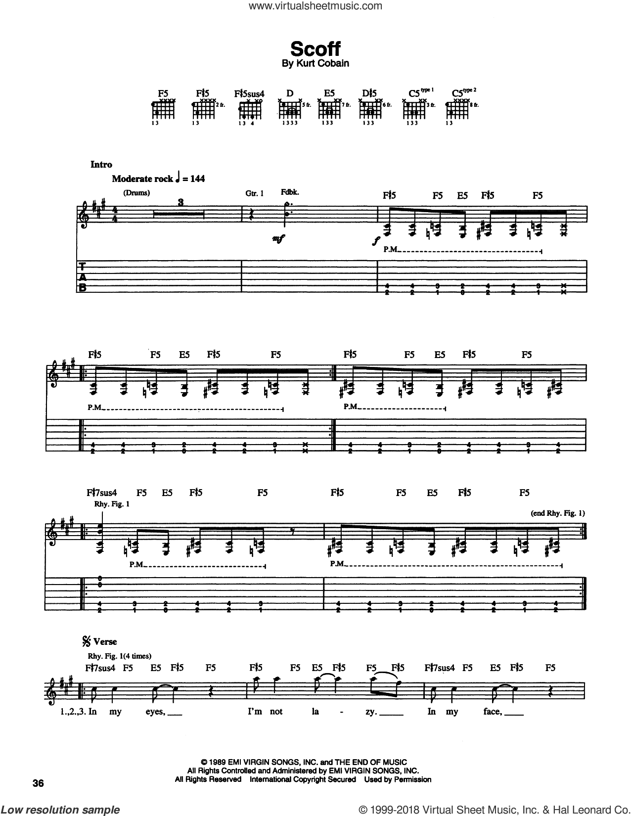 Scoff sheet music for guitar (tablature) by Kurt Cobain and Nirvana. Score Image Preview.