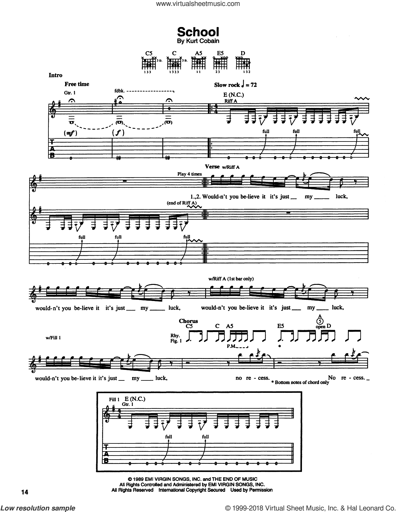 School sheet music for guitar (tablature) by Kurt Cobain and Nirvana. Score Image Preview.