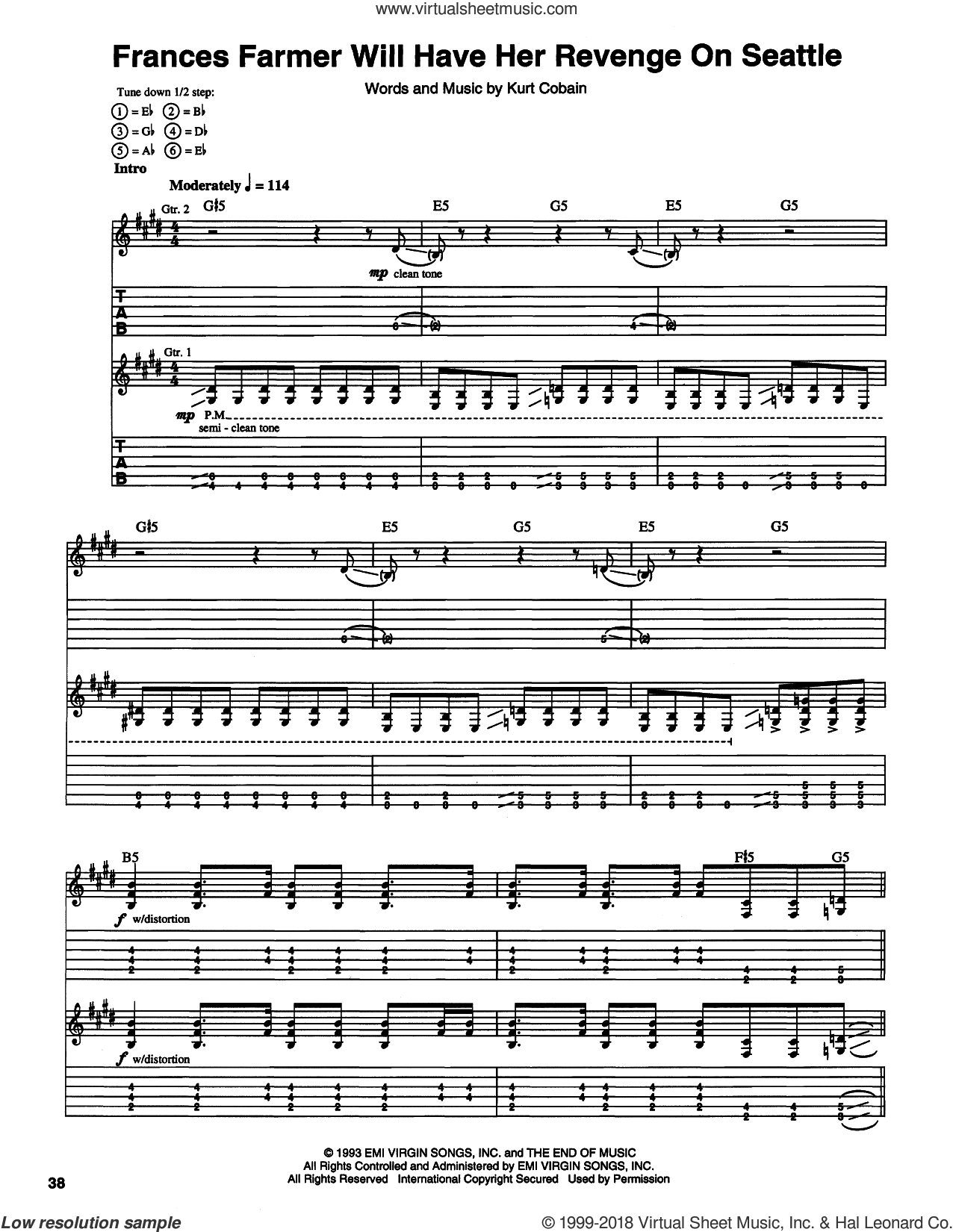 Frances Farmer Will Have Her Revenge On Seattle sheet music for guitar (tablature) by Nirvana, intermediate guitar (tablature). Score Image Preview.