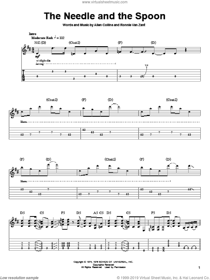 The Needle And The Spoon sheet music for guitar (tablature, play-along) by Lynyrd Skynyrd and Ronnie Van Zant. Score Image Preview.