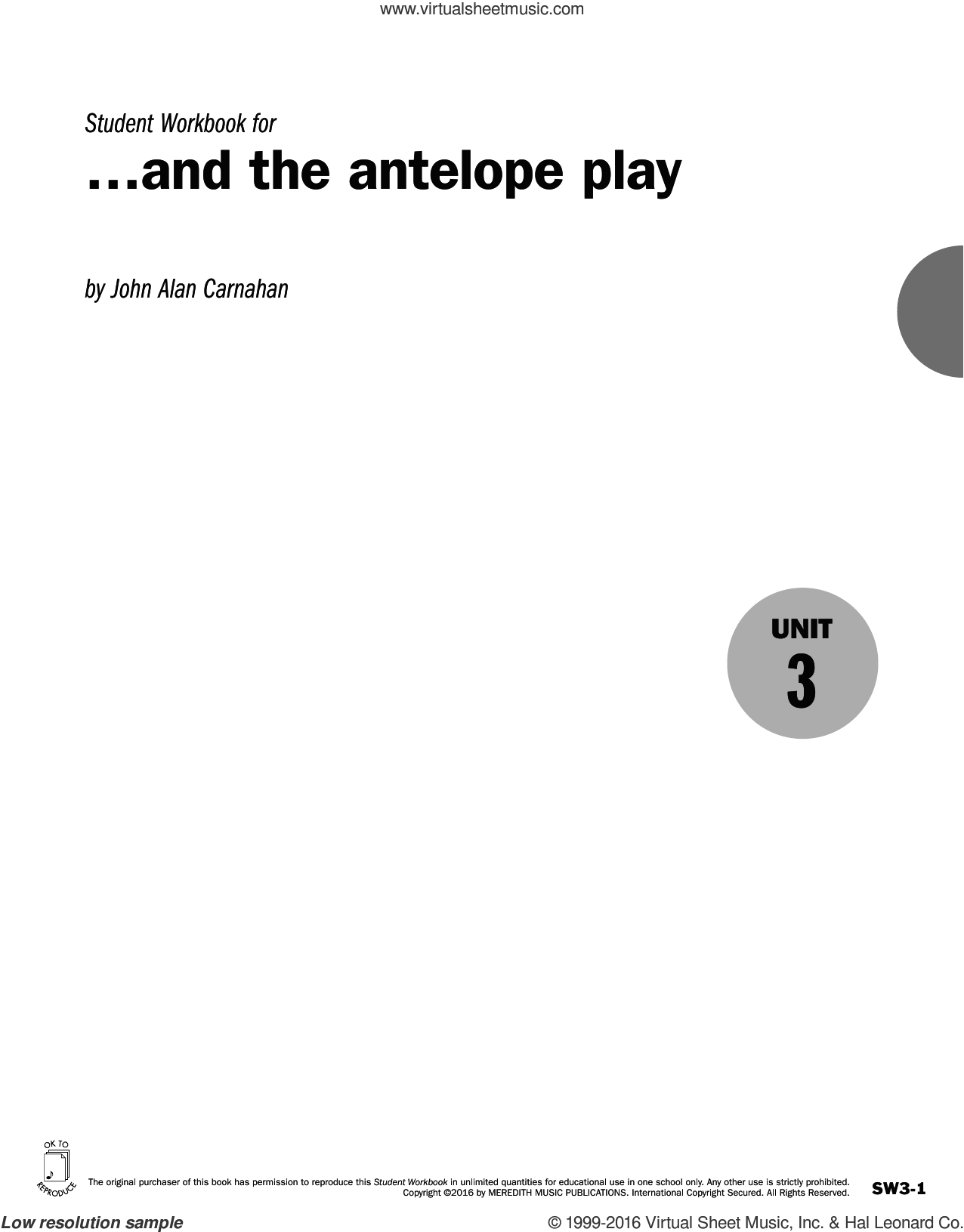 Guides to Band Masterworks, Vol. 6 - Student Workbook - and the antelope play sheet music for for flute or other instruments by John Alan Carnahan. Score Image Preview.