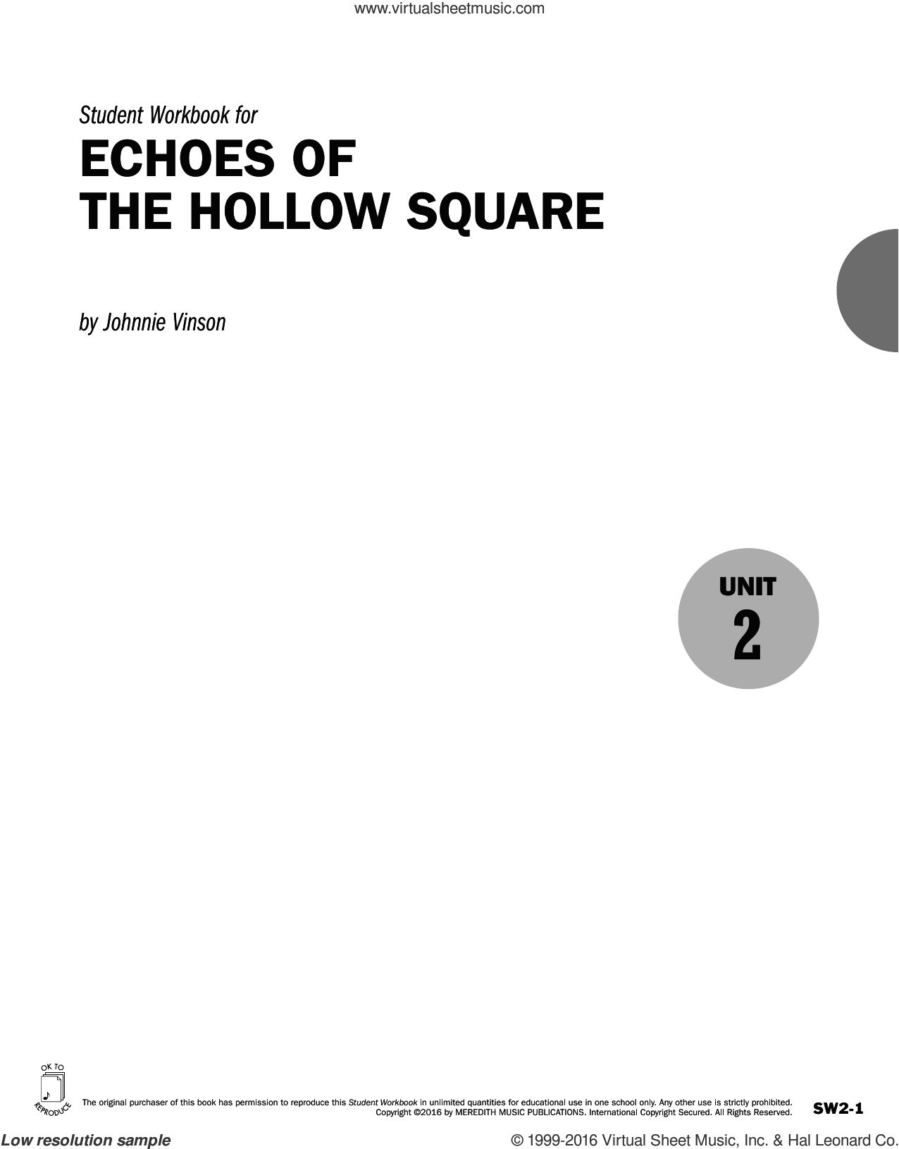 Guides to Band Masterworks, Vol. 6 - Student Workbook - Echoes of The Hollow Square sheet music for for flute or other instruments by Johnnie Vinson, intermediate skill level
