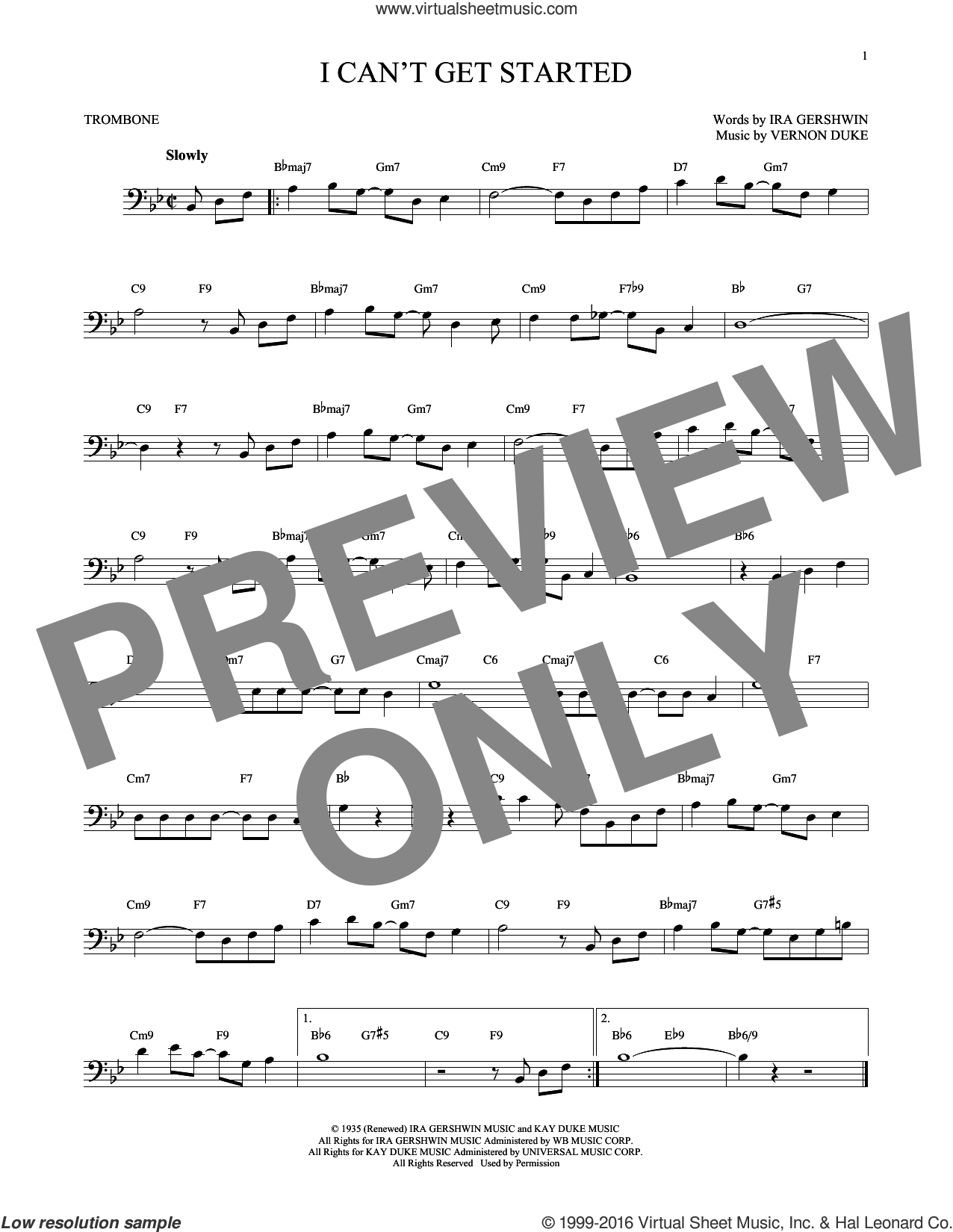 I Can't Get Started sheet music for trombone solo by Vernon Duke and Ira Gershwin. Score Image Preview.