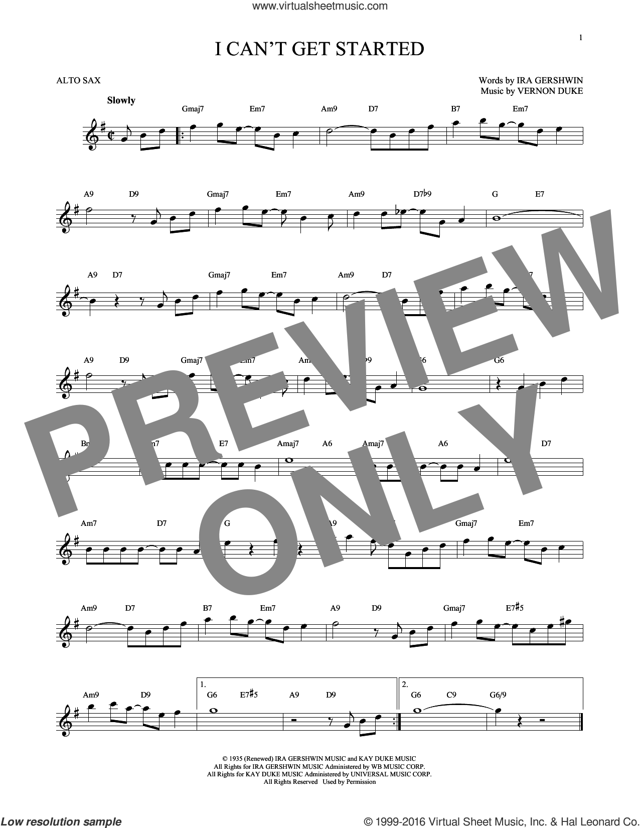 I Can't Get Started sheet music for alto saxophone solo by Vernon Duke and Ira Gershwin. Score Image Preview.