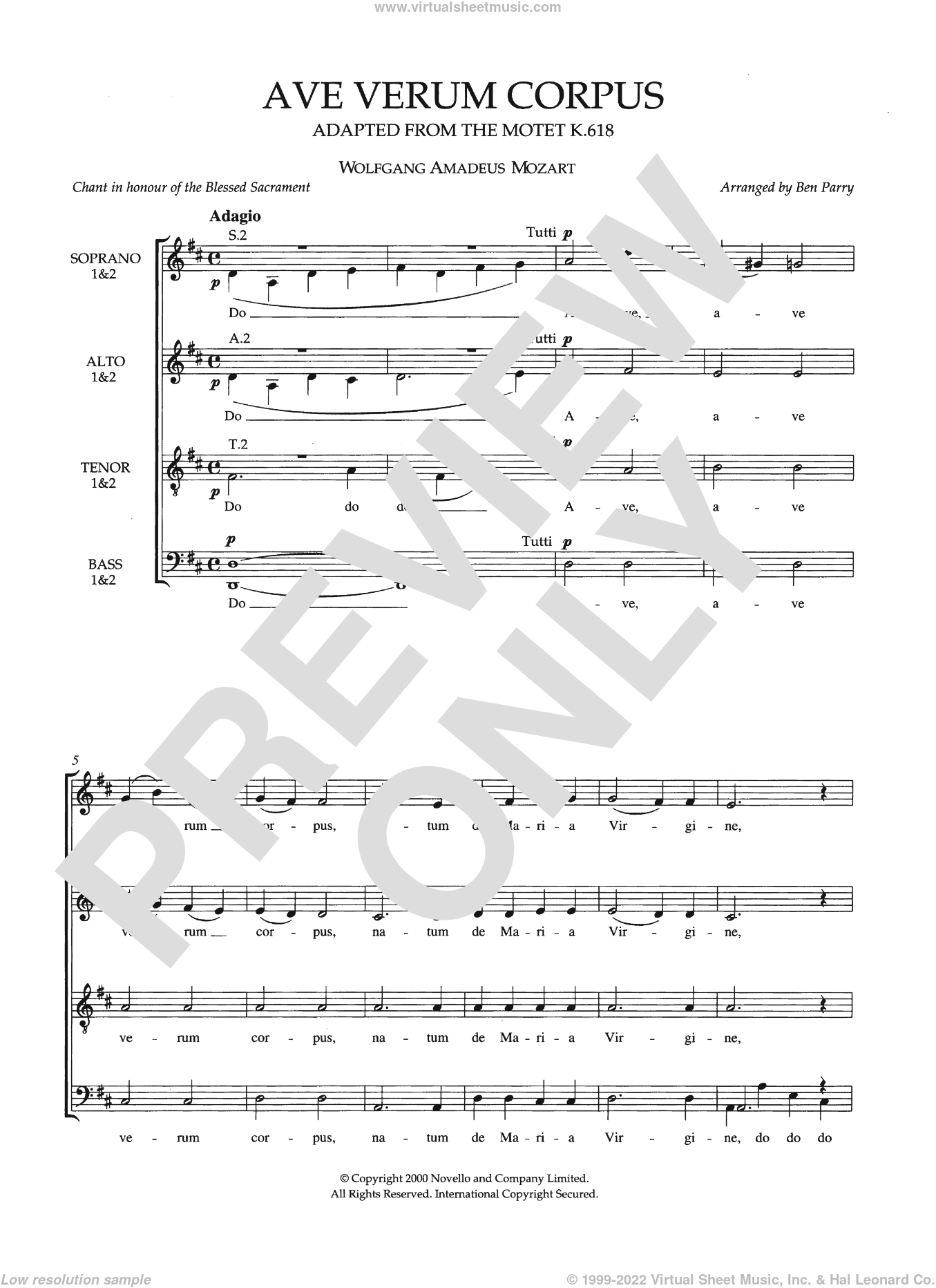 Ave Verum Corpus, K618 (arr. Ben Parry) sheet music for voice, piano or guitar by Wolfgang Amadeus Mozart, classical score, intermediate voice, piano or guitar. Score Image Preview.
