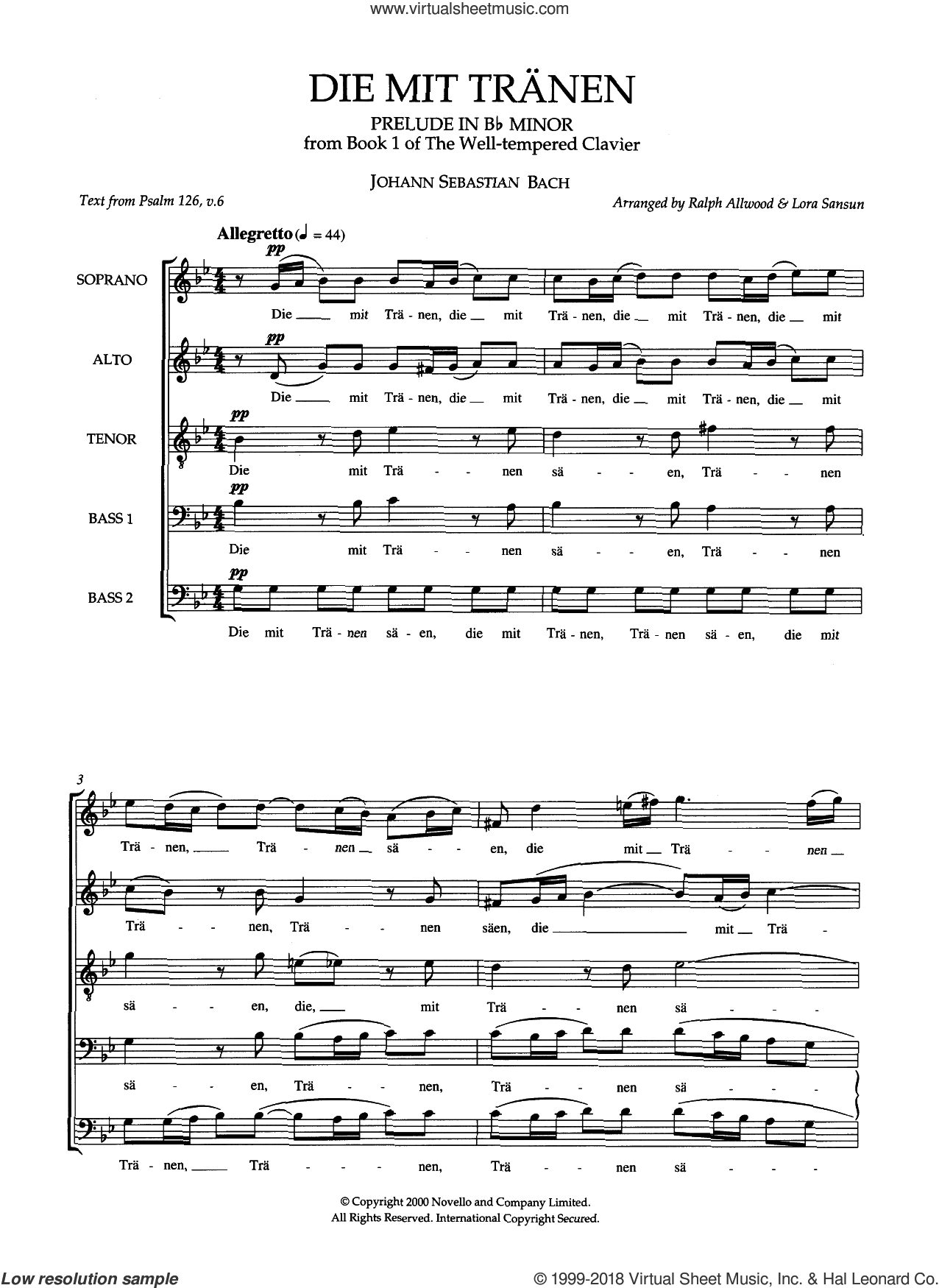 Die Mit Tranen (arr. Ralph Allwood and Lora Sansun) sheet music for choir (SATB: soprano, alto, tenor, bass) by Johann Sebastian Bach, Lora Sansun and Ralph Allwood, classical score, intermediate. Score Image Preview.