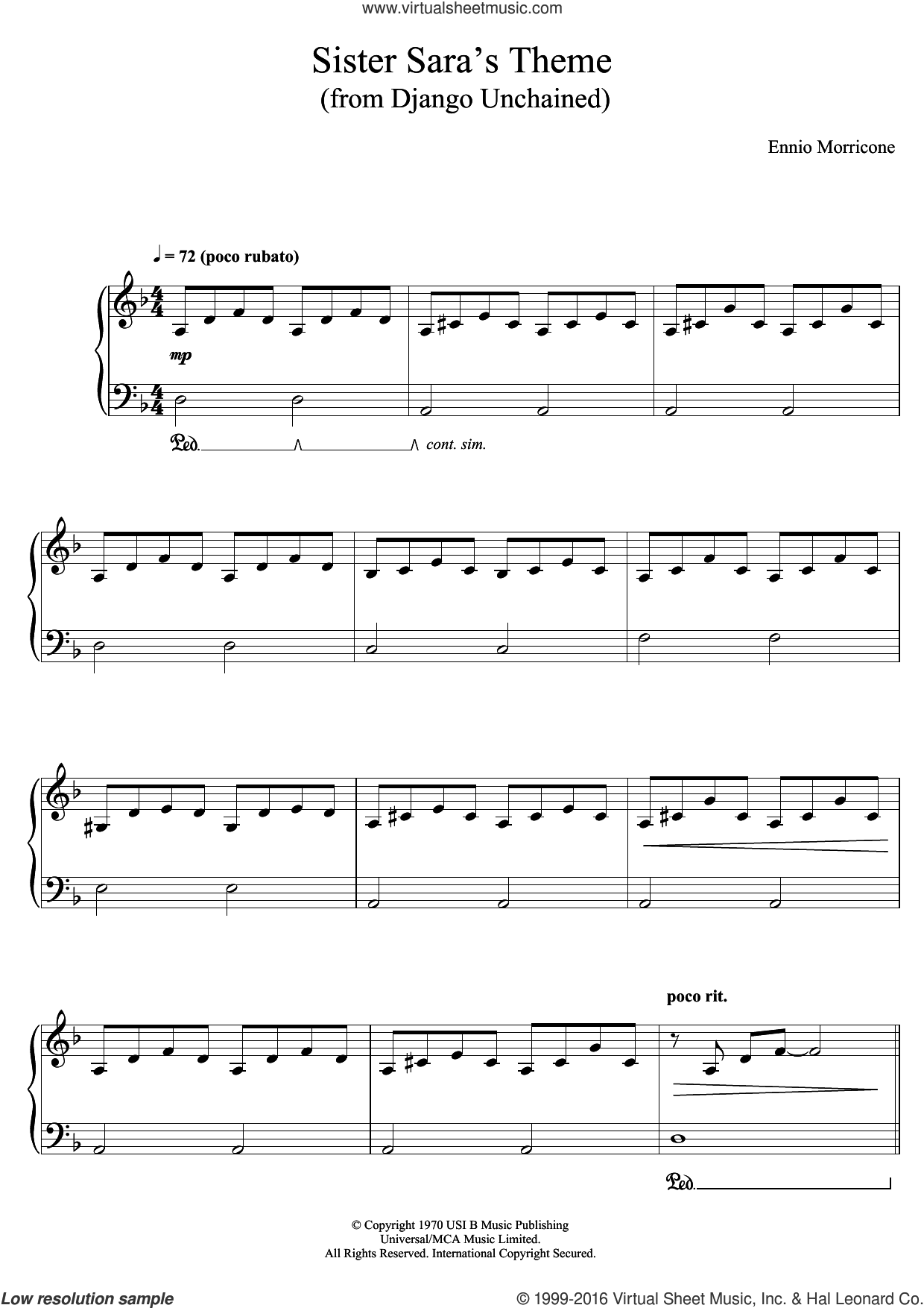 Sister Sara's Theme (Django Unchained) sheet music for piano solo by Ennio Morricone, classical score, intermediate skill level