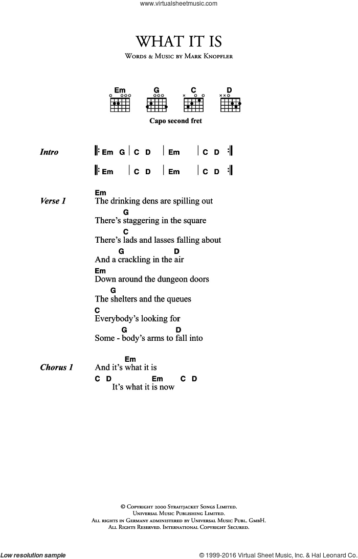 What It Is sheet music for guitar (chords) by Mark Knopfler, intermediate guitar (chords). Score Image Preview.