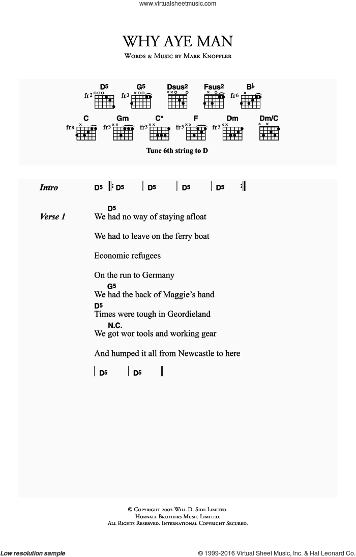 Why Aye Man sheet music for guitar (chords) by Mark Knopfler. Score Image Preview.
