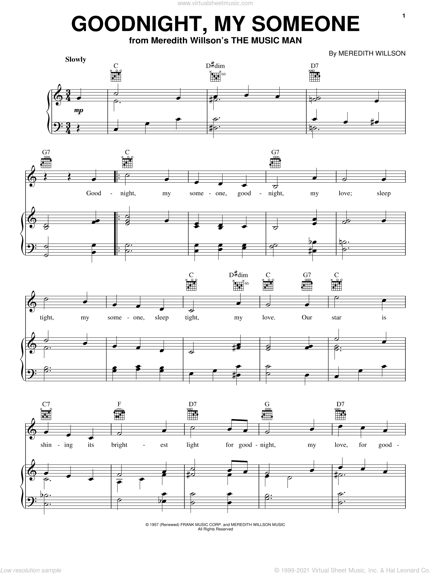 Goodnight, My Someone sheet music for voice, piano or guitar by Meredith Willson, intermediate skill level