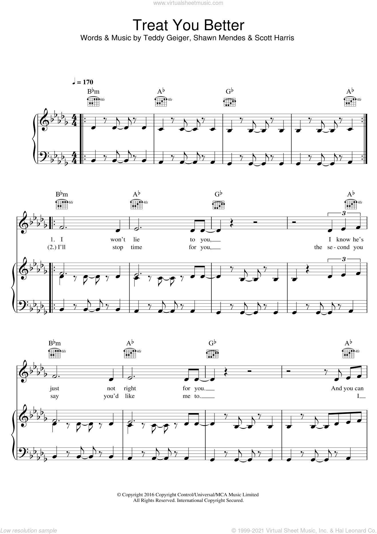 Treat You Better sheet music for voice, piano or guitar by Shawn Mendes, Scott Harris and Teddy Geiger, intermediate skill level