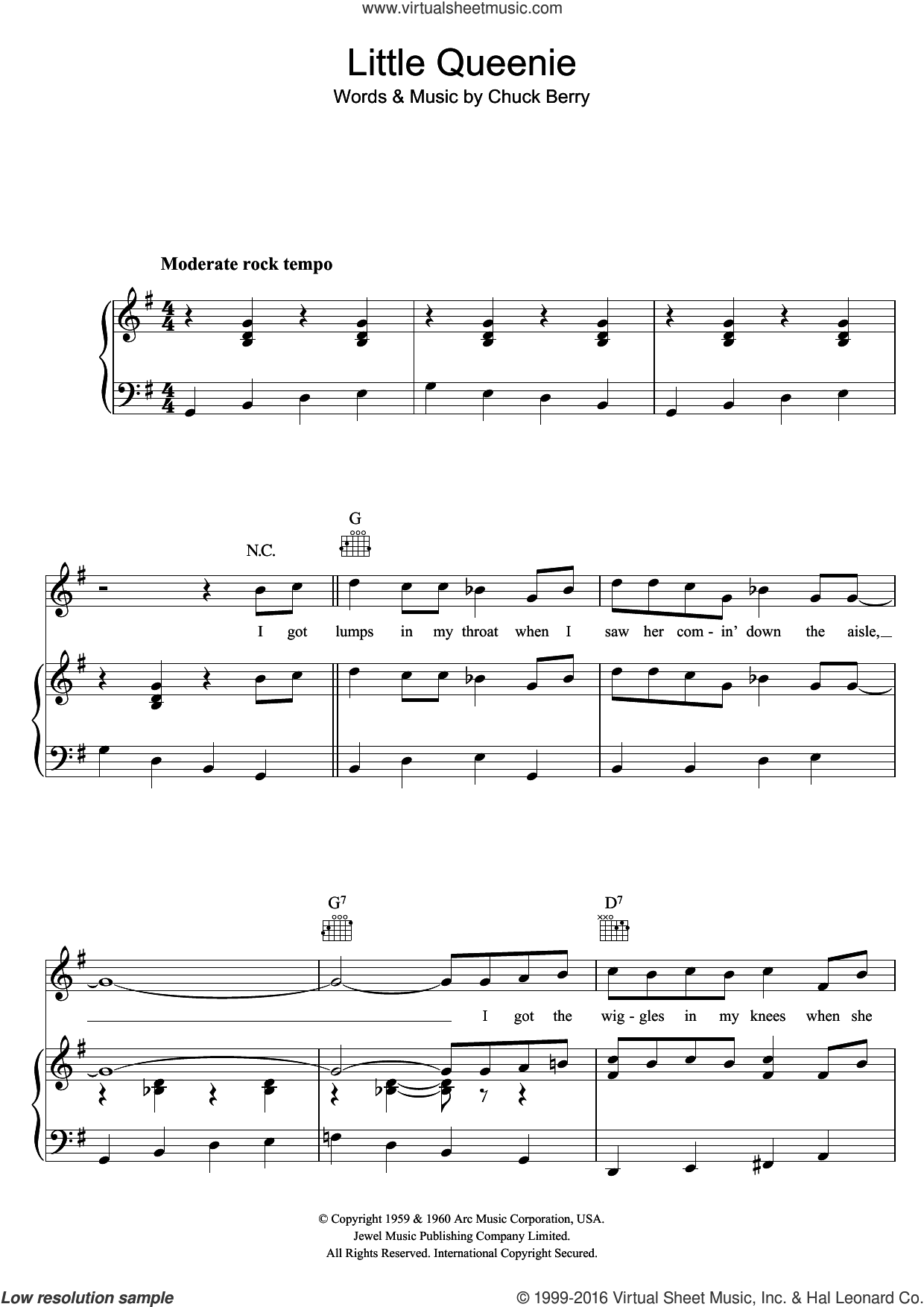 Little Queenie sheet music for voice, piano or guitar by The Rolling Stones and Chuck Berry, intermediate voice, piano or guitar. Score Image Preview.