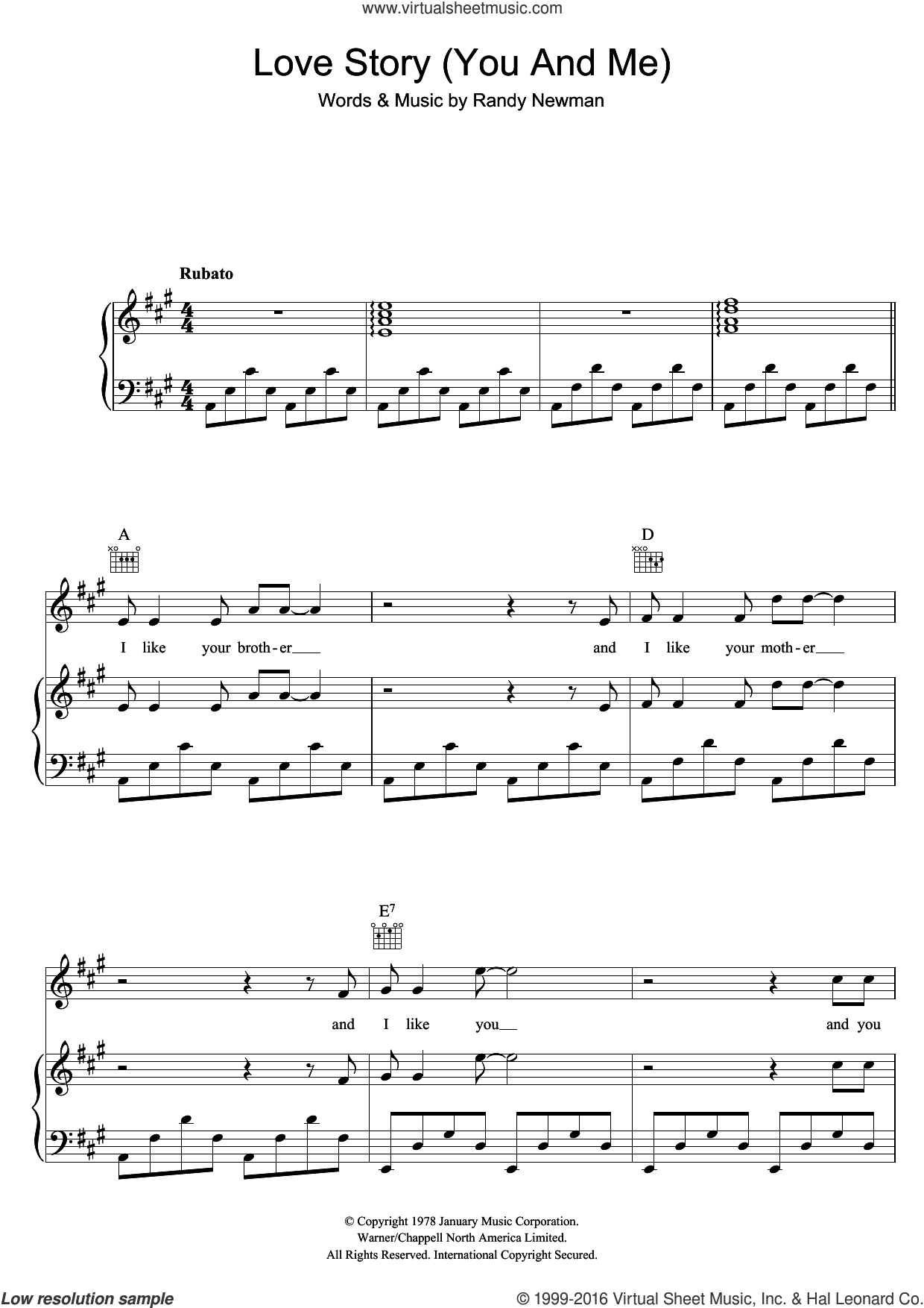 Love Story (You And Me) sheet music for voice, piano or guitar by Randy Newman. Score Image Preview.
