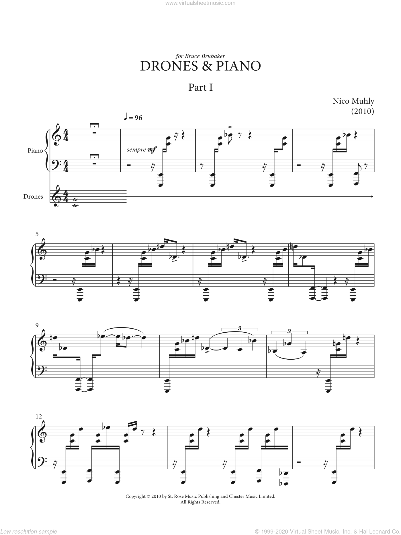 Drones And Piano sheet music for piano solo by Nico Muhly. Score Image Preview.