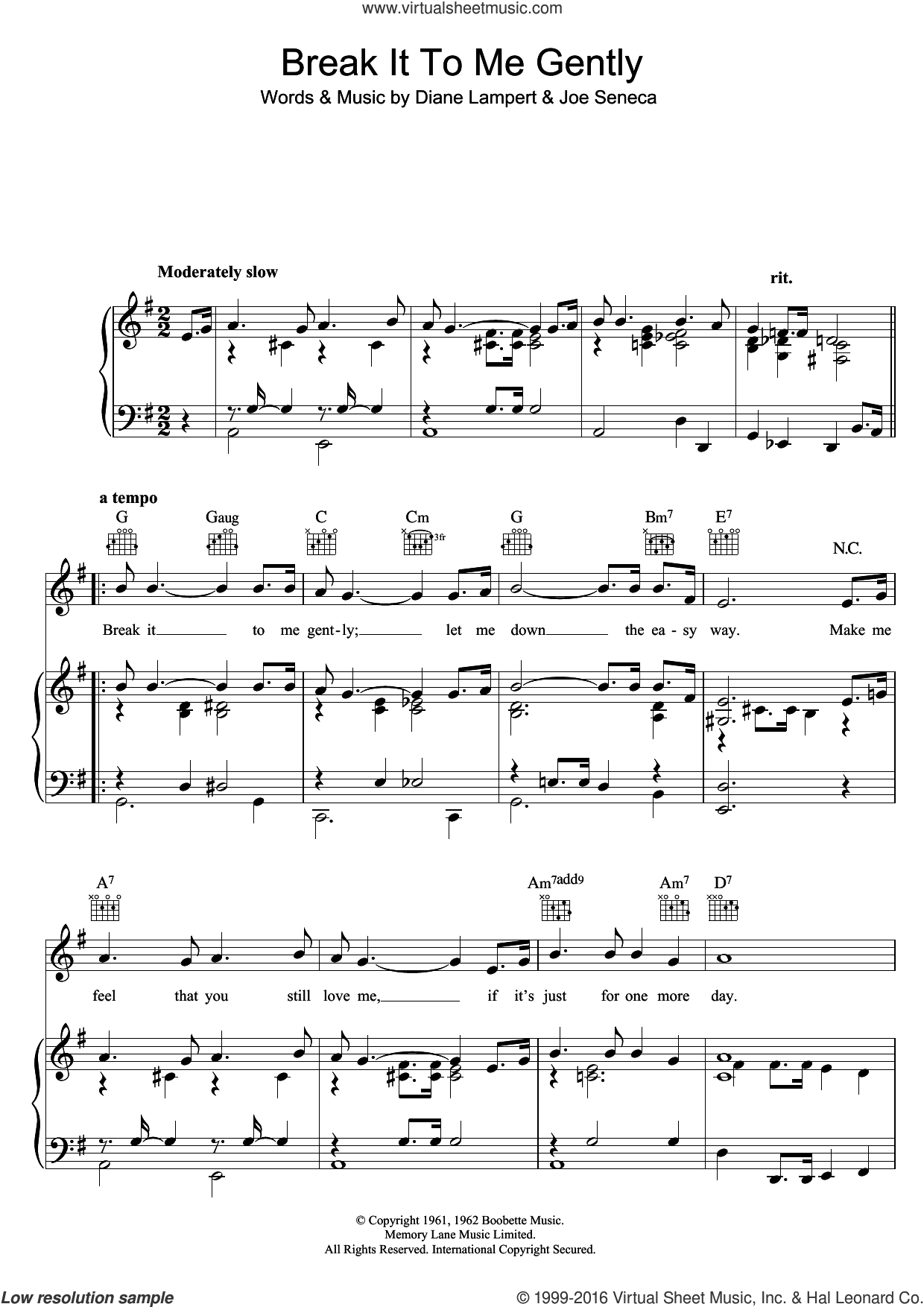 Break It To Me Gently sheet music for voice, piano or guitar by Diane Lampert, Brenda Lee and Joe Seneca. Score Image Preview.