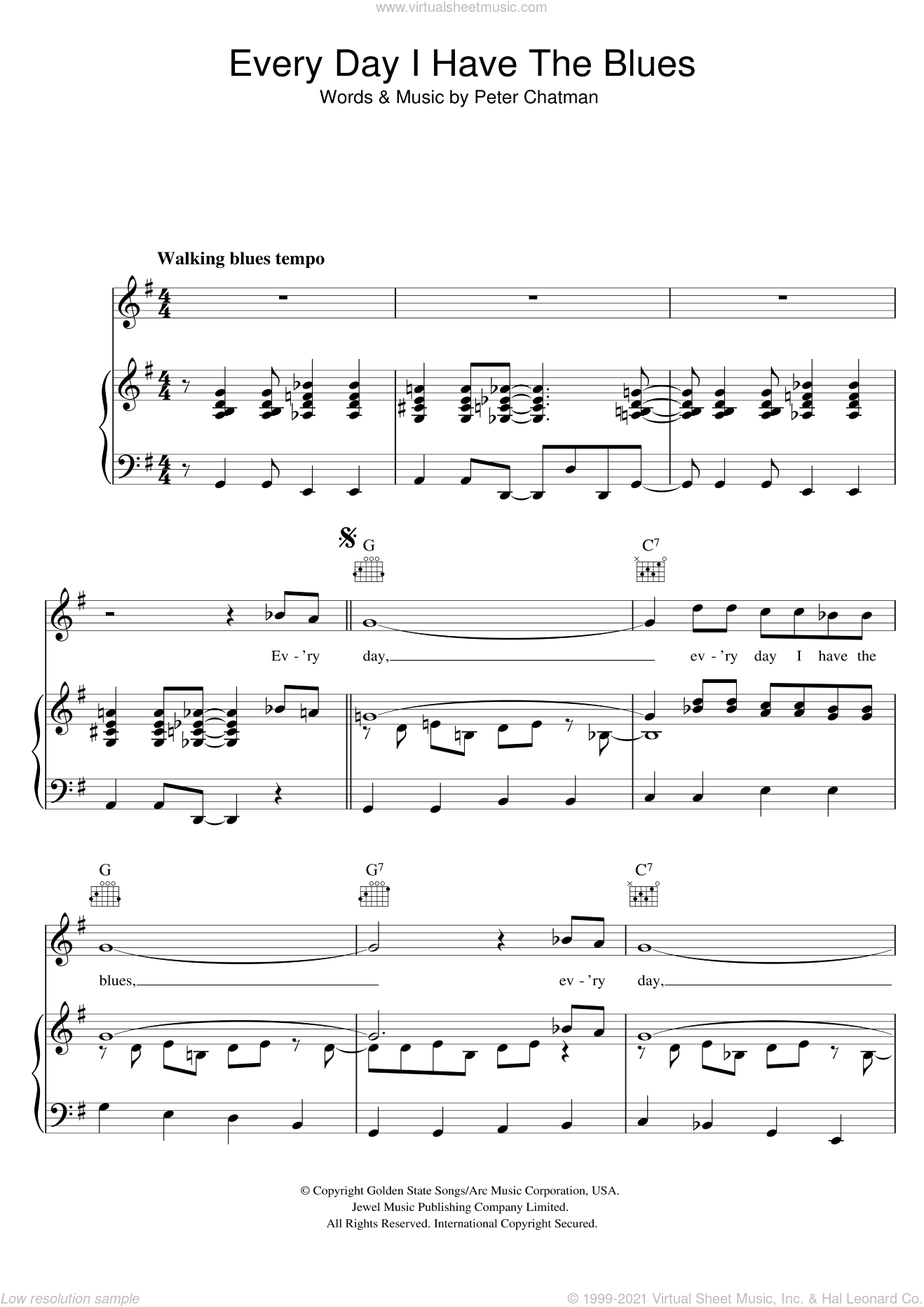 Every Day I Have The Blues sheet music for voice, piano or guitar by B.B. King. Score Image Preview.