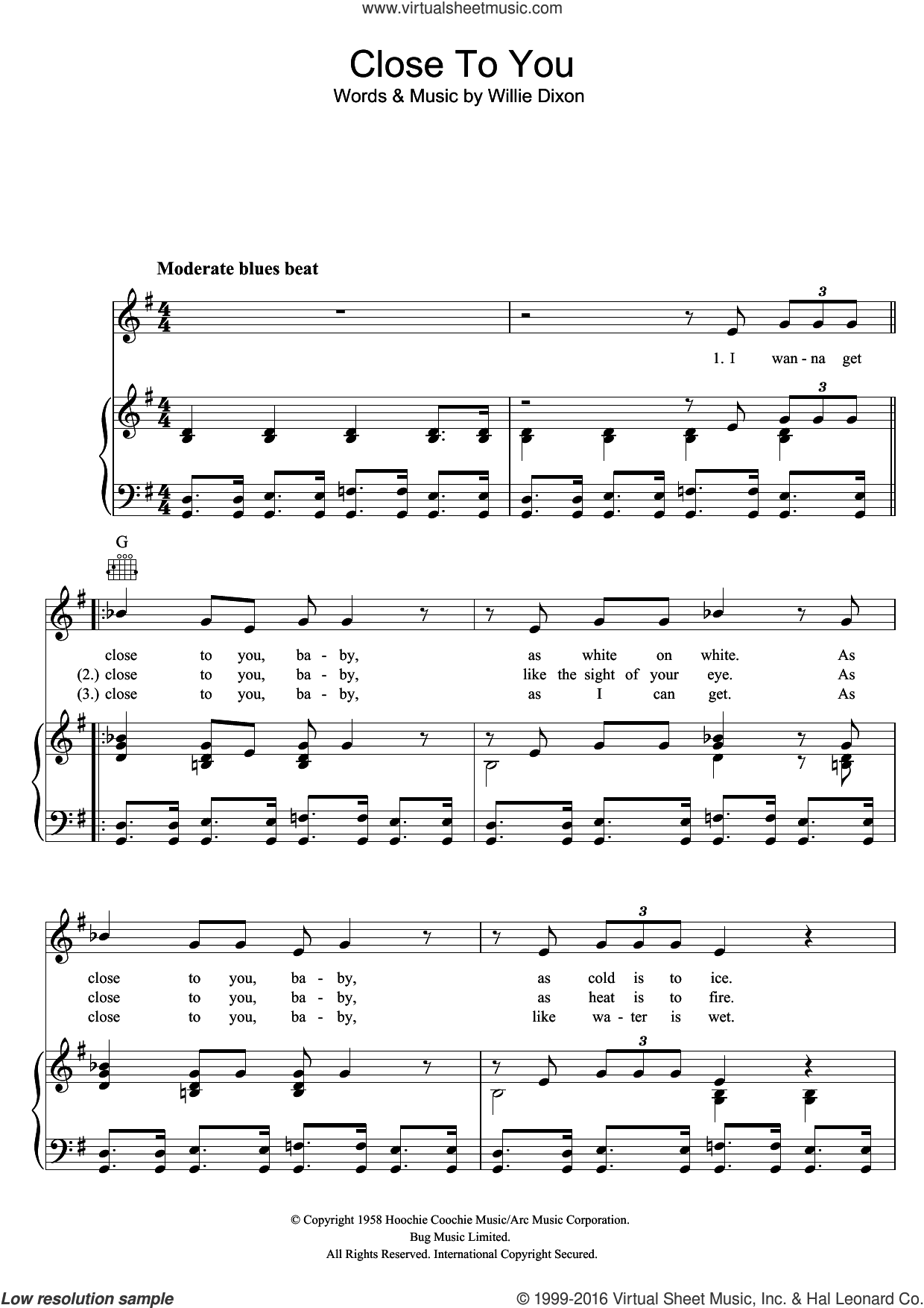 Close To You sheet music for voice, piano or guitar by The Doors and Willie Dixon, intermediate. Score Image Preview.