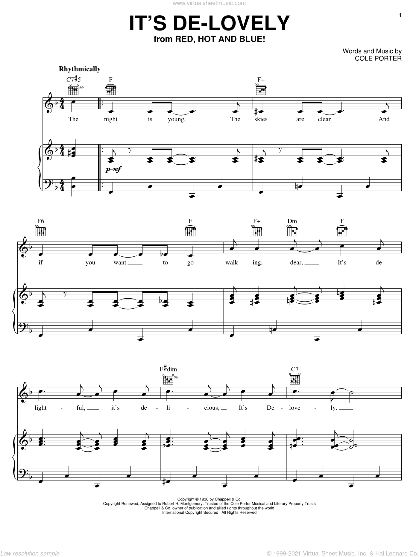 It's De-Lovely sheet music for voice, piano or guitar by Cole Porter, intermediate skill level