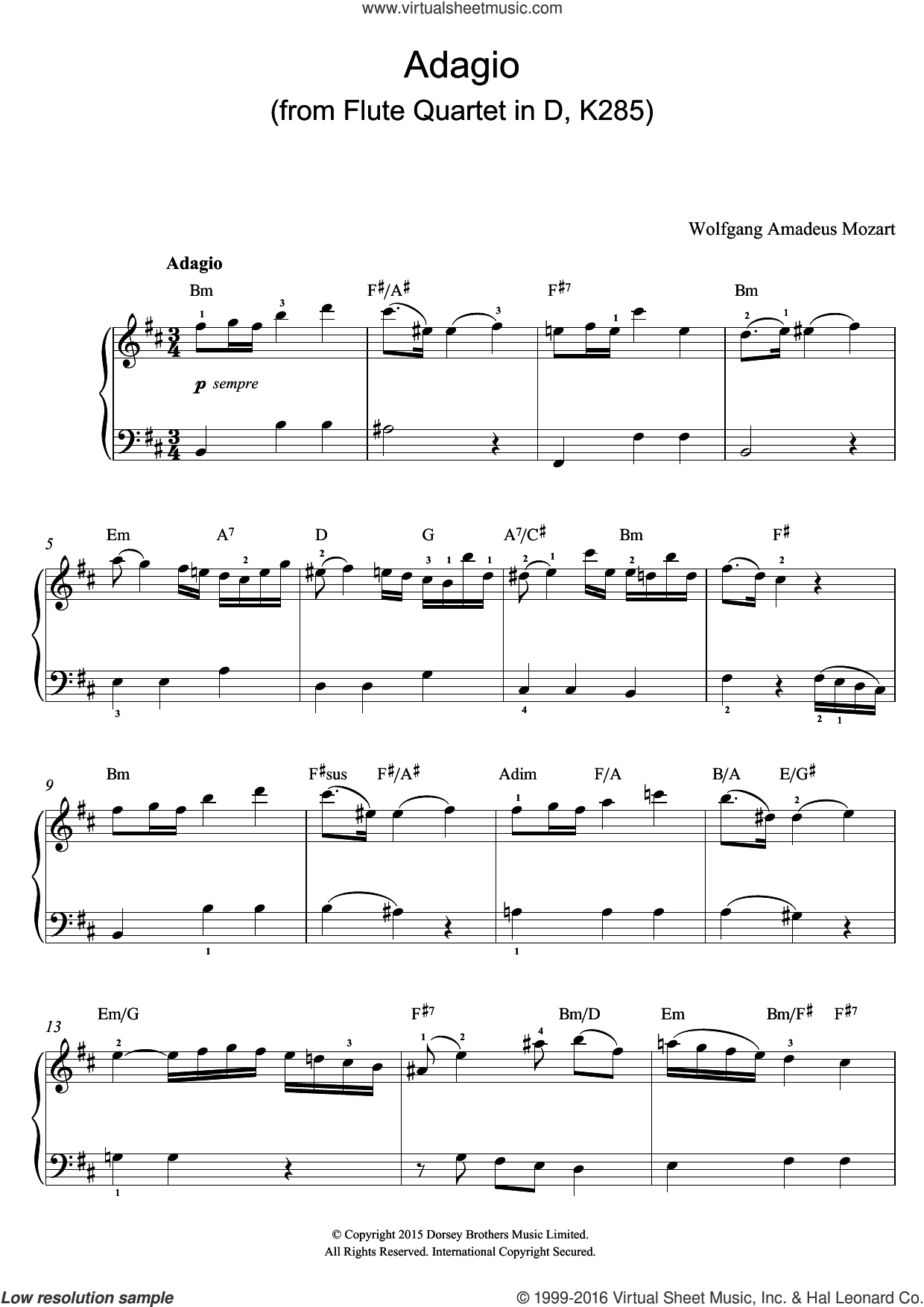 Adagio (from Flute Quartet In D, K285) sheet music for voice, piano or guitar by Wolfgang Amadeus Mozart, classical score, intermediate. Score Image Preview.