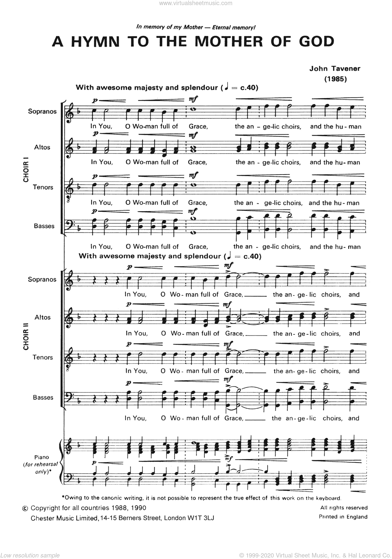 Two Hymns To The Mother Of God sheet music for voice, piano or guitar by John Tavener. Score Image Preview.