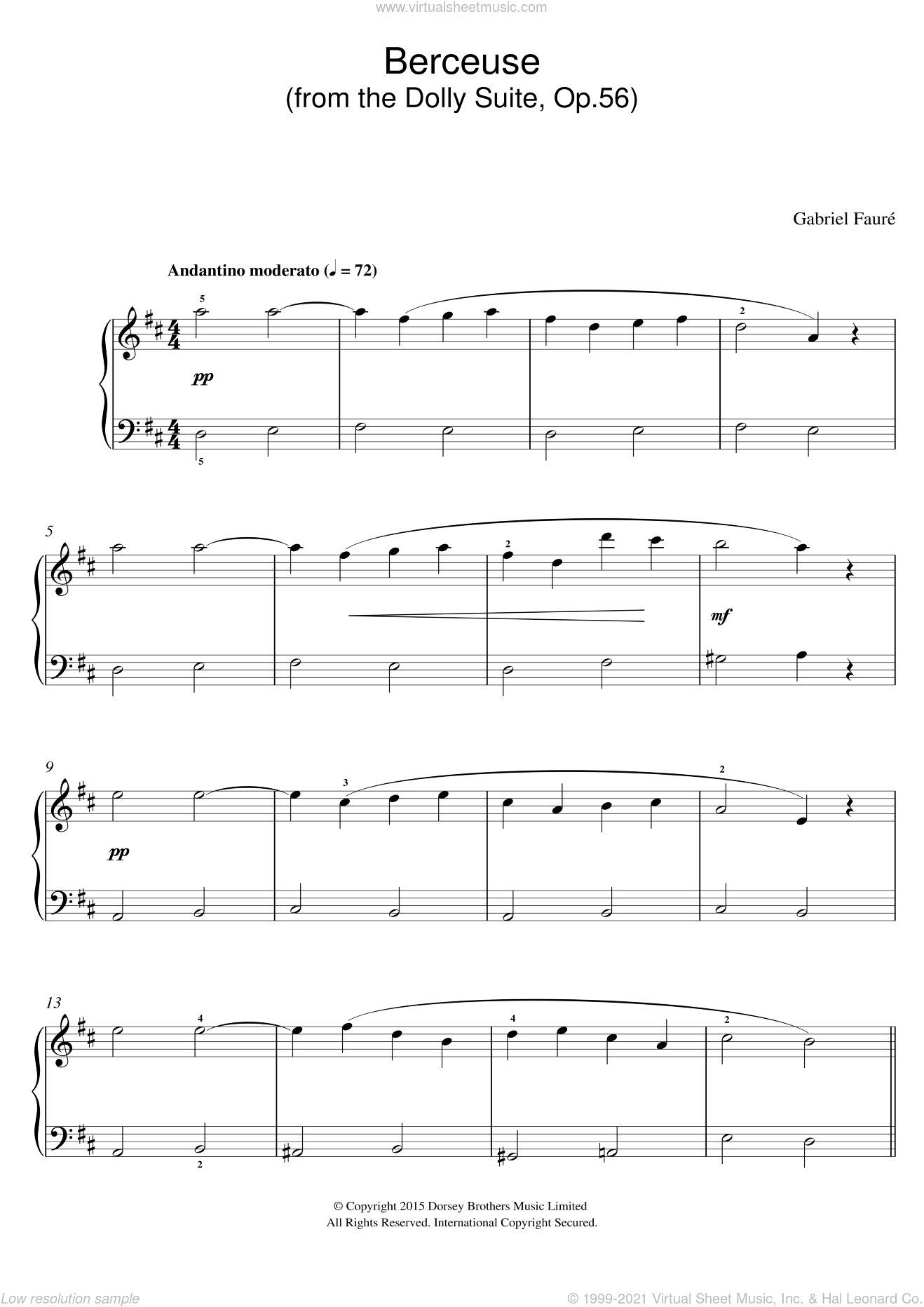 Berceuse (from the Dolly Suite, Op.56) sheet music for voice, piano or guitar by Gabriel Faure, classical score, intermediate skill level