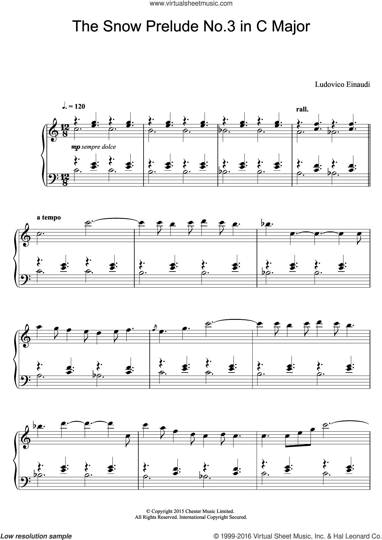 The Snow Prelude No. 3 In C Major sheet music for piano solo by Ludovico Einaudi, classical score, intermediate skill level