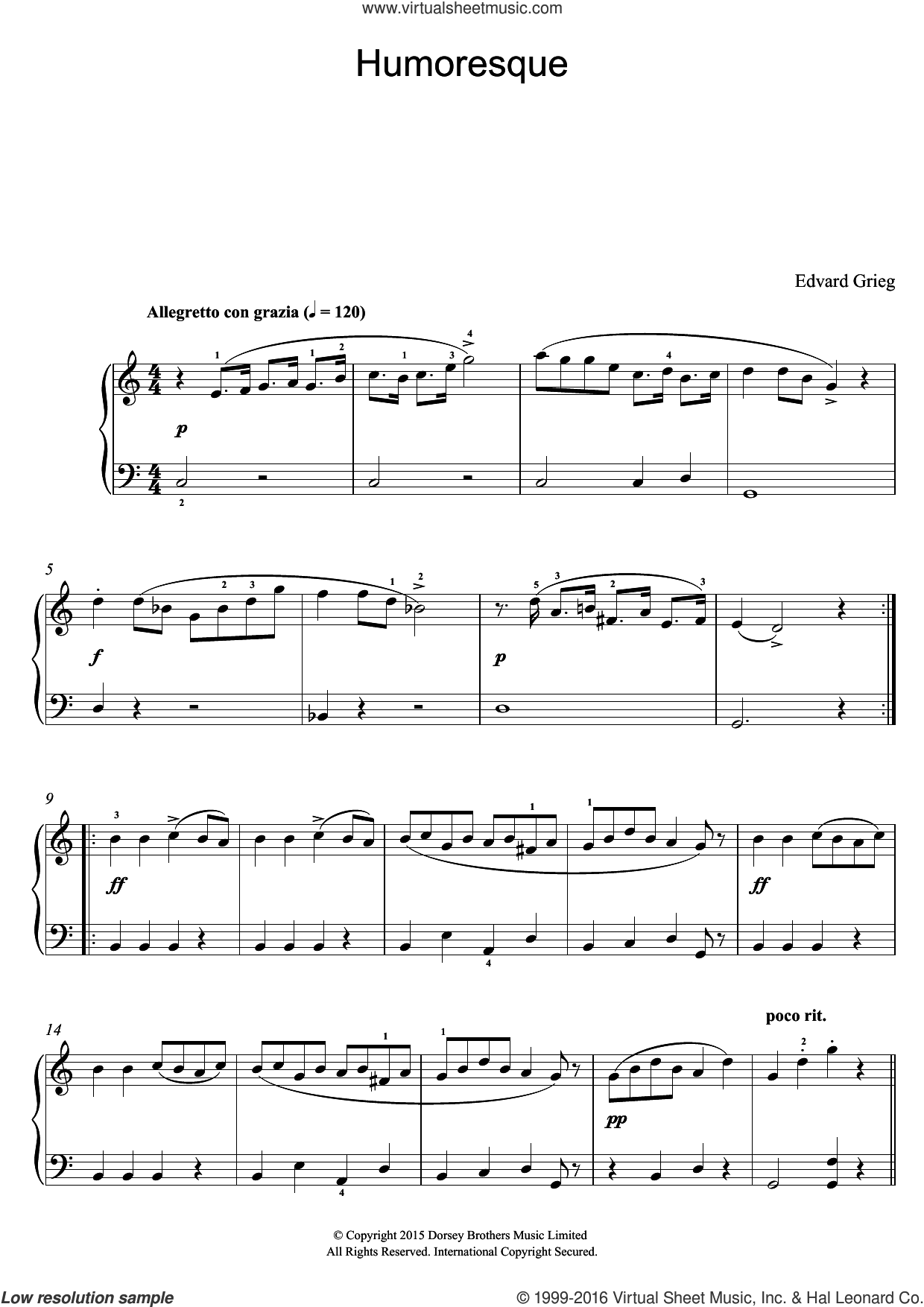 Humoresque sheet music for voice, piano or guitar by Edward Grieg, classical score, intermediate. Score Image Preview.