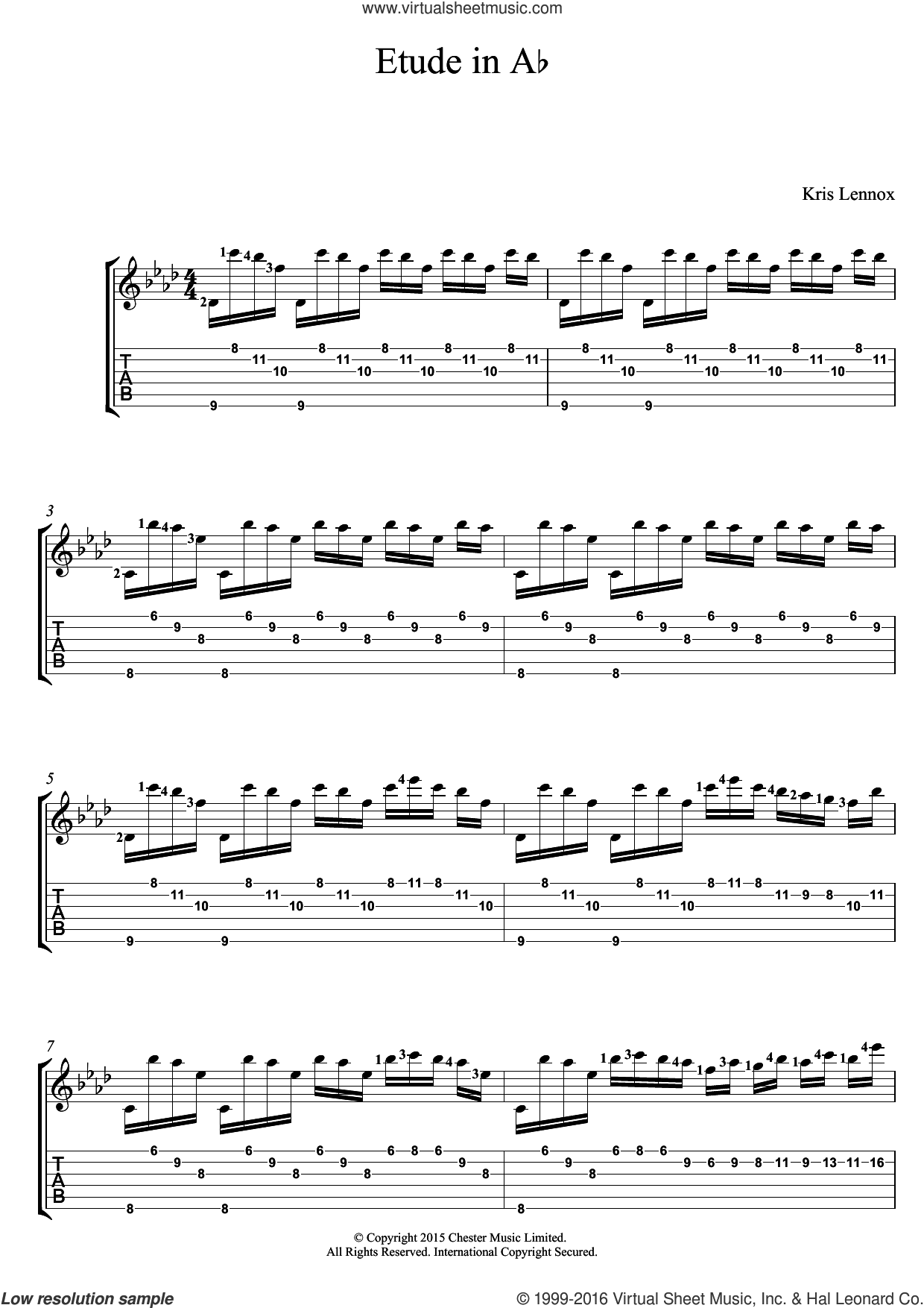 Etude In A Flat sheet music for guitar (tablature) by Kris Lennox. Score Image Preview.