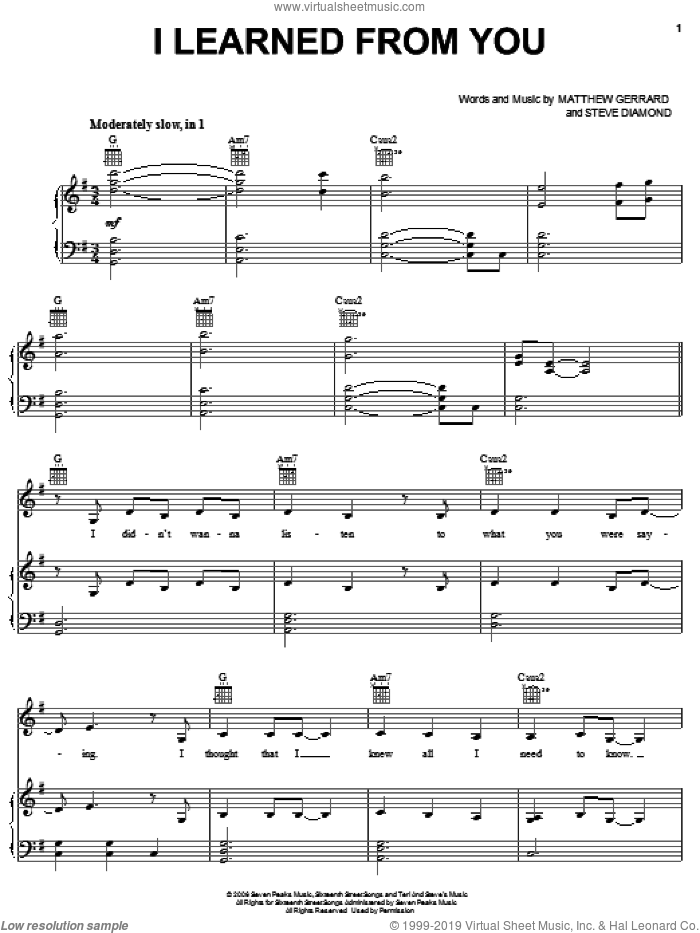 I Learned From You sheet music for voice, piano or guitar by Steve Diamond, Hannah Montana, Miley Cyrus and Matthew Gerrard. Score Image Preview.