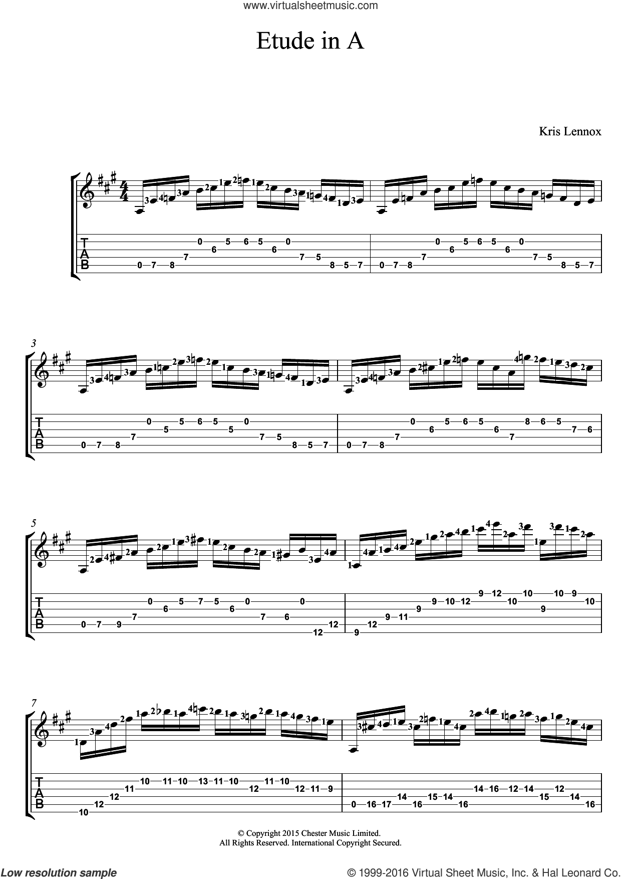 Etude In A sheet music for guitar (tablature) by Kris Lennox. Score Image Preview.