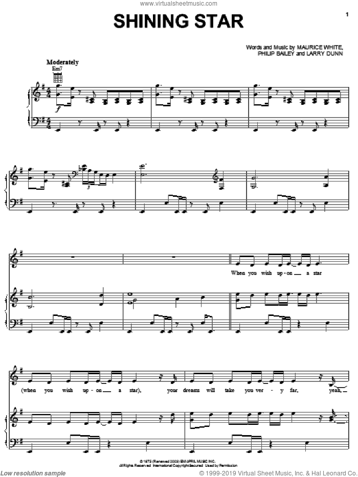 Shining Star sheet music for voice, piano or guitar by Philip Bailey, B Five, Earth, Wind & Fire, Hannah Montana, Yolanda Adams and Maurice White. Score Image Preview.