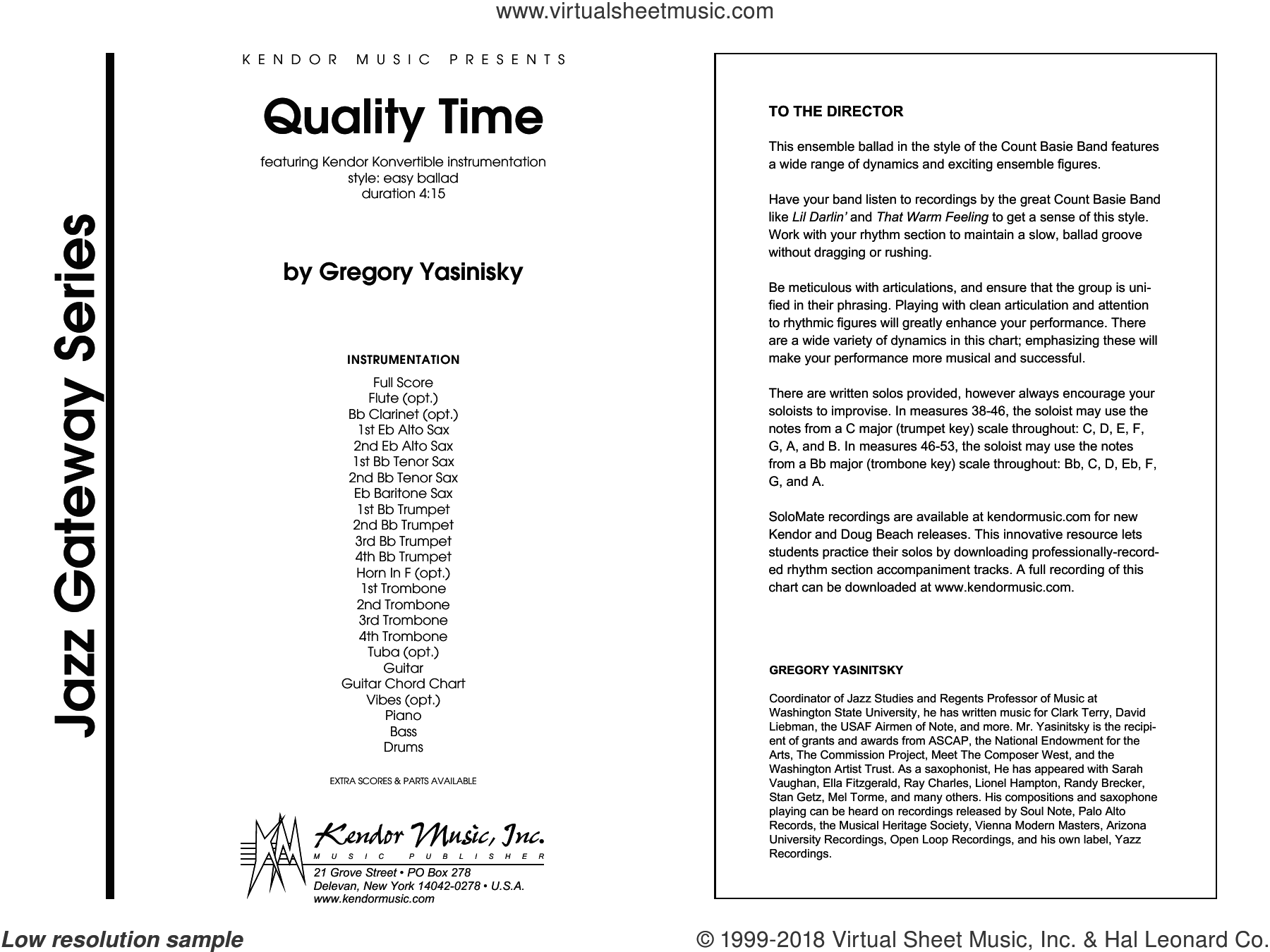 Quality Time (COMPLETE) sheet music for jazz band by Gregory Yasinitsky, intermediate skill level