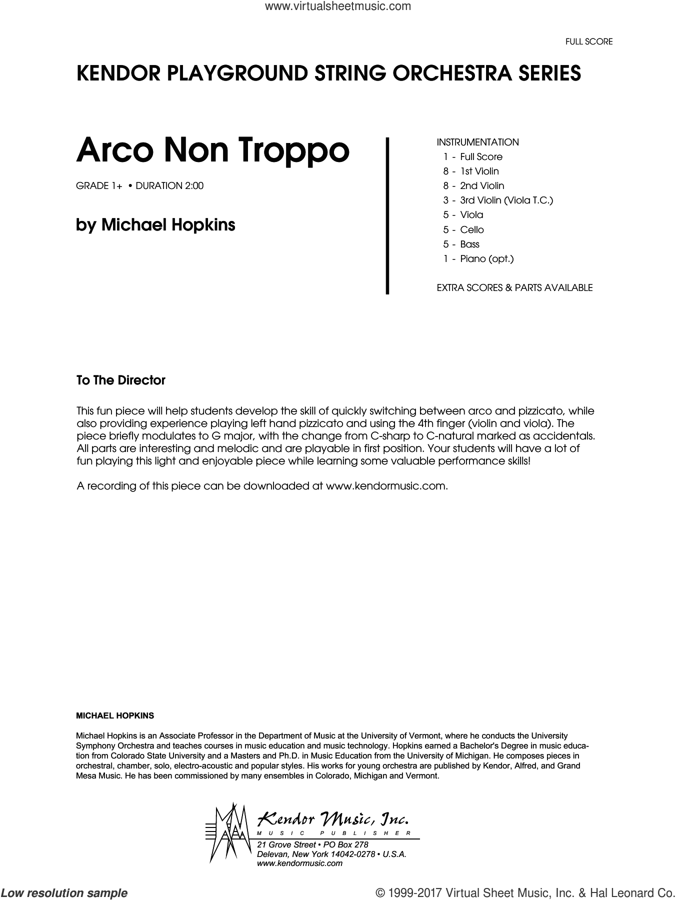 Arco Non Troppo (COMPLETE) sheet music for orchestra by Deborah Baker Monday and Hopkins, intermediate orchestra. Score Image Preview.