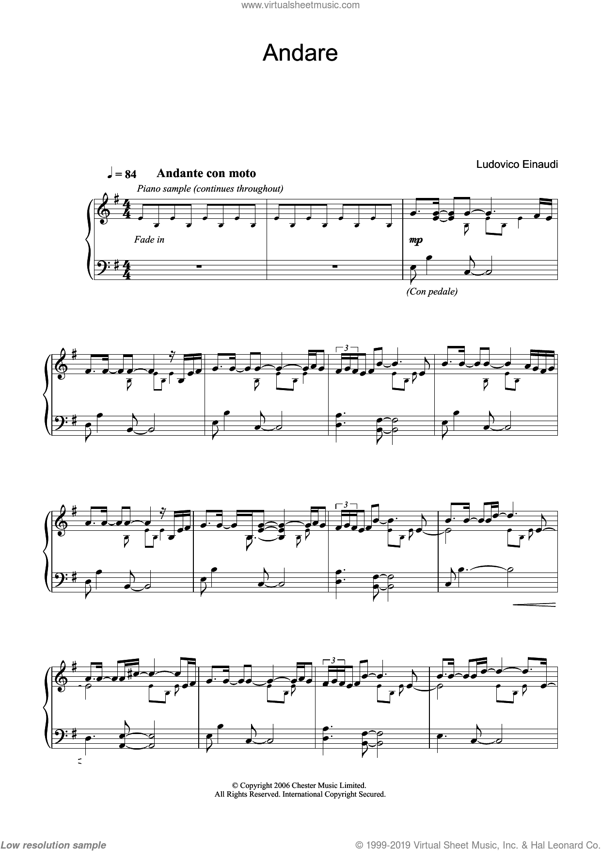 Andare sheet music for piano solo by Ludovico Einaudi, classical score, intermediate skill level