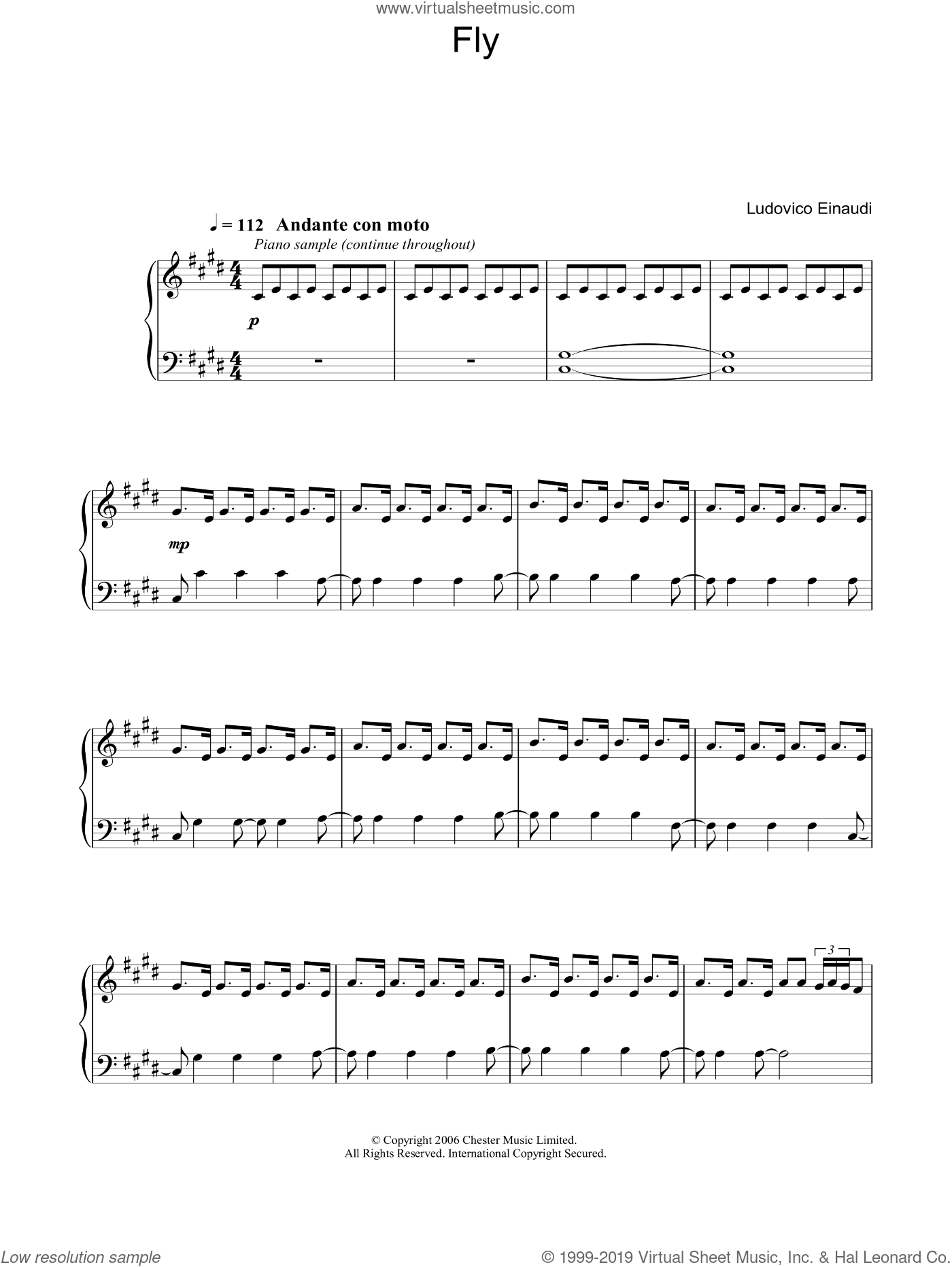 Fly sheet music for piano solo by Ludovico Einaudi, classical score, intermediate piano. Score Image Preview.